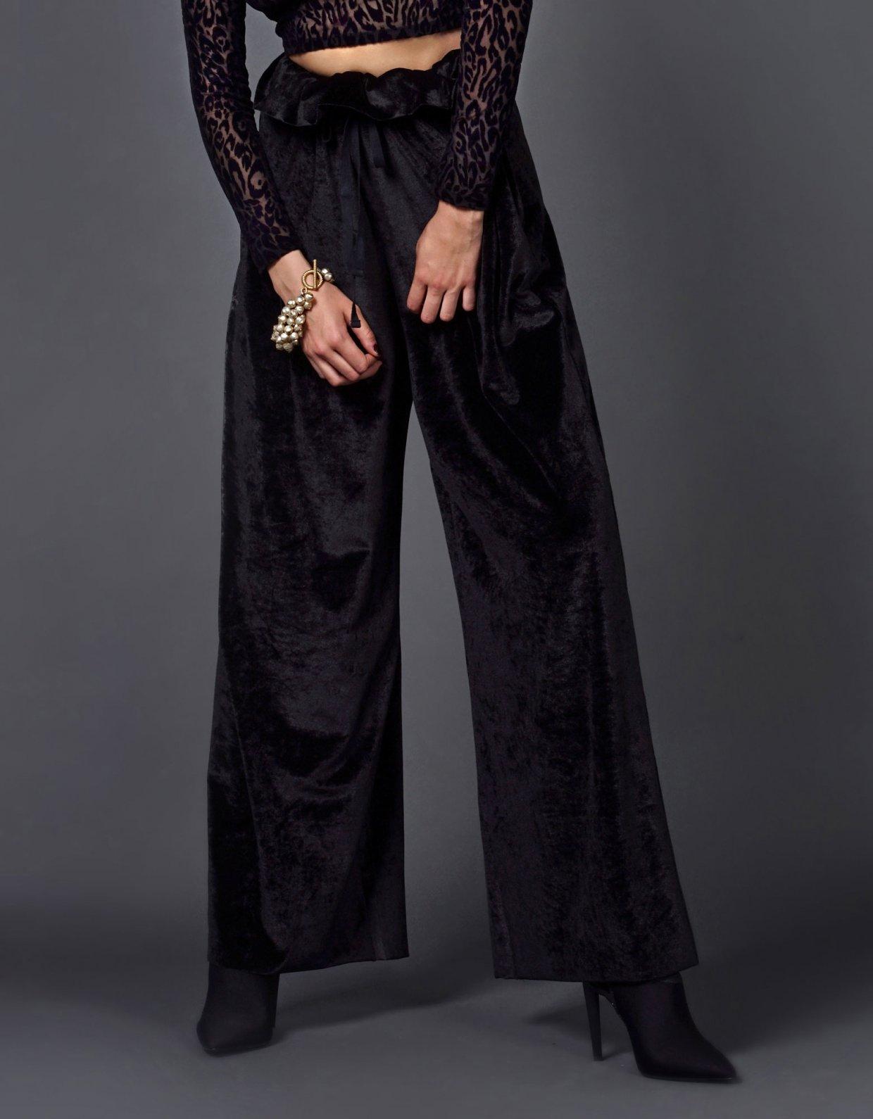 Kendall Kylie Black Velvet Pants Greek Fashion Room