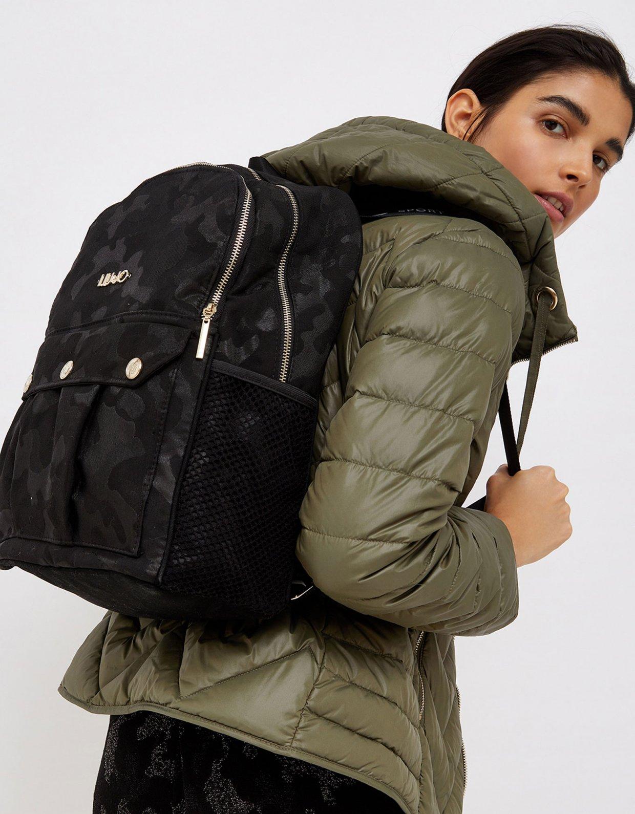 Liu Jo Jacquard camouflage backpack nero