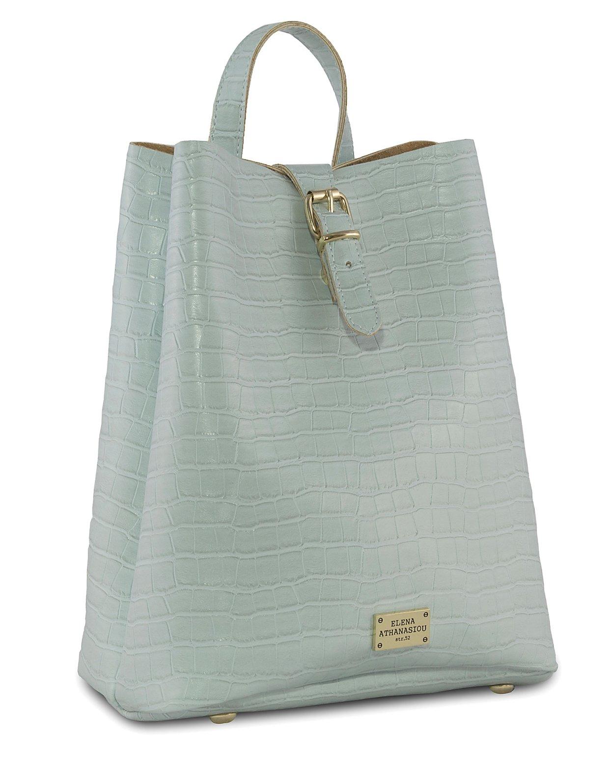 Elena Athanasiou Croco backpack ice blue