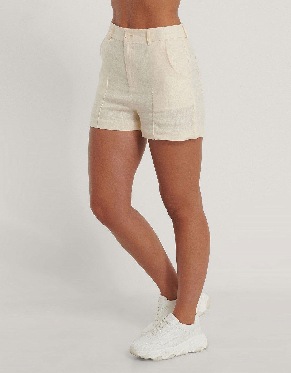 NA-KD Cropped linen shorts