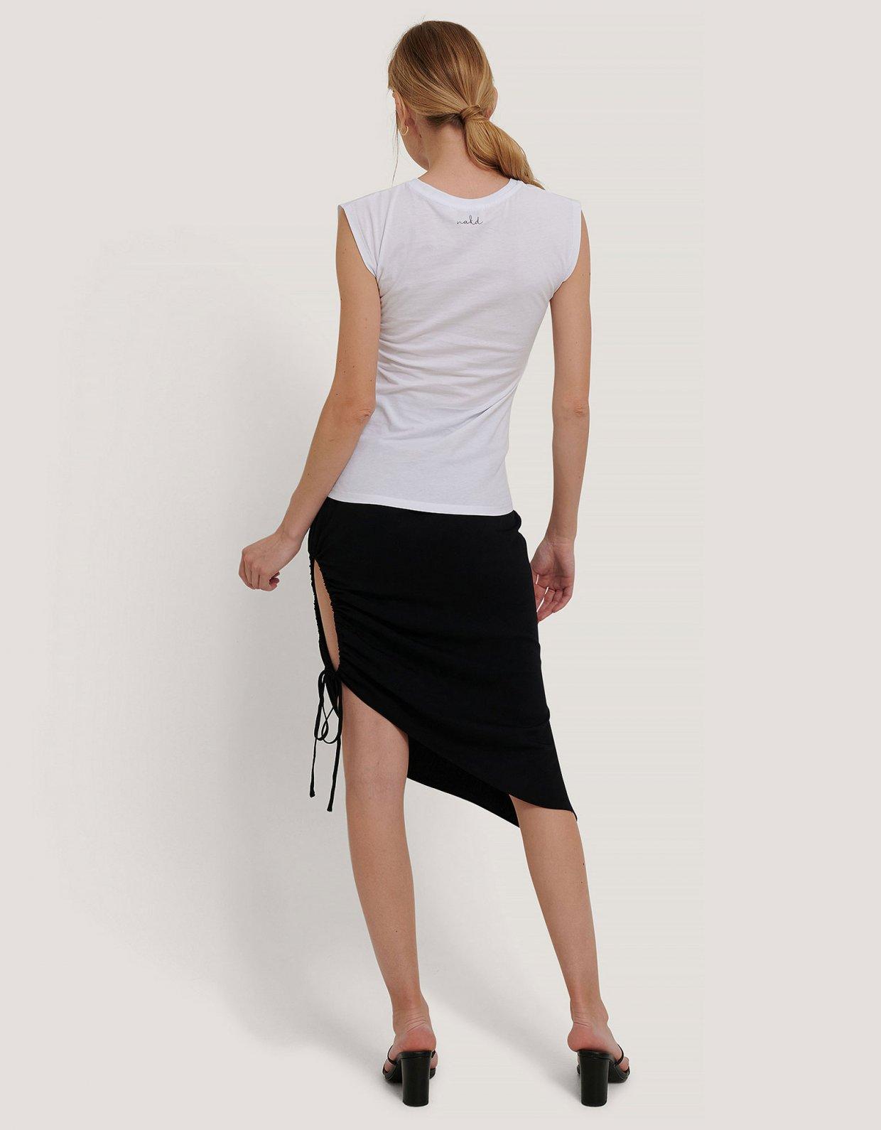 NA-KD Draped high slit midi skirt