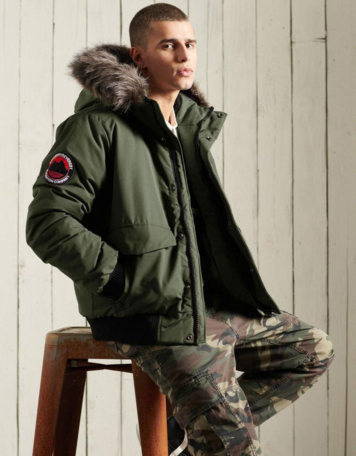 Superdry Everest bomber jacket surplus goods olive
