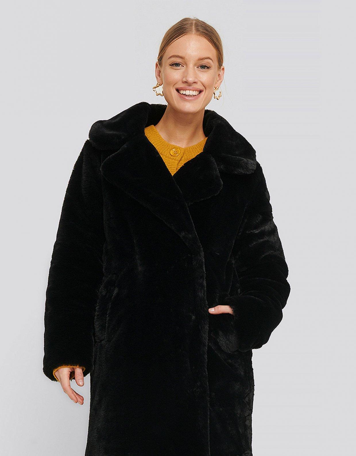 NA-KD Faux fur black coat