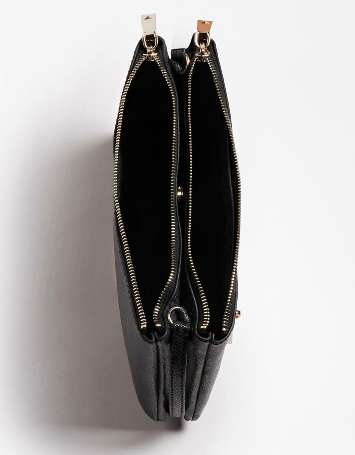 Guess Naya double zip crossbody bag dark grey
