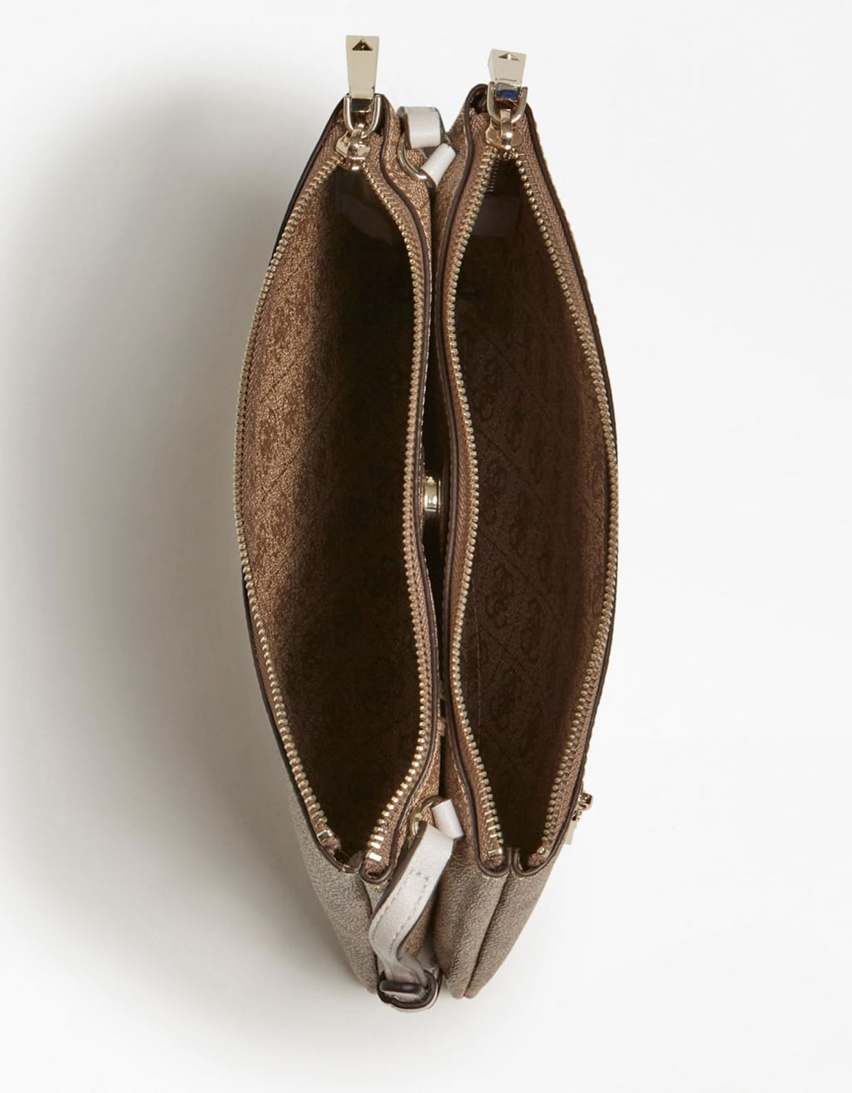 Guess Naya double zip crossbody bag latte stone