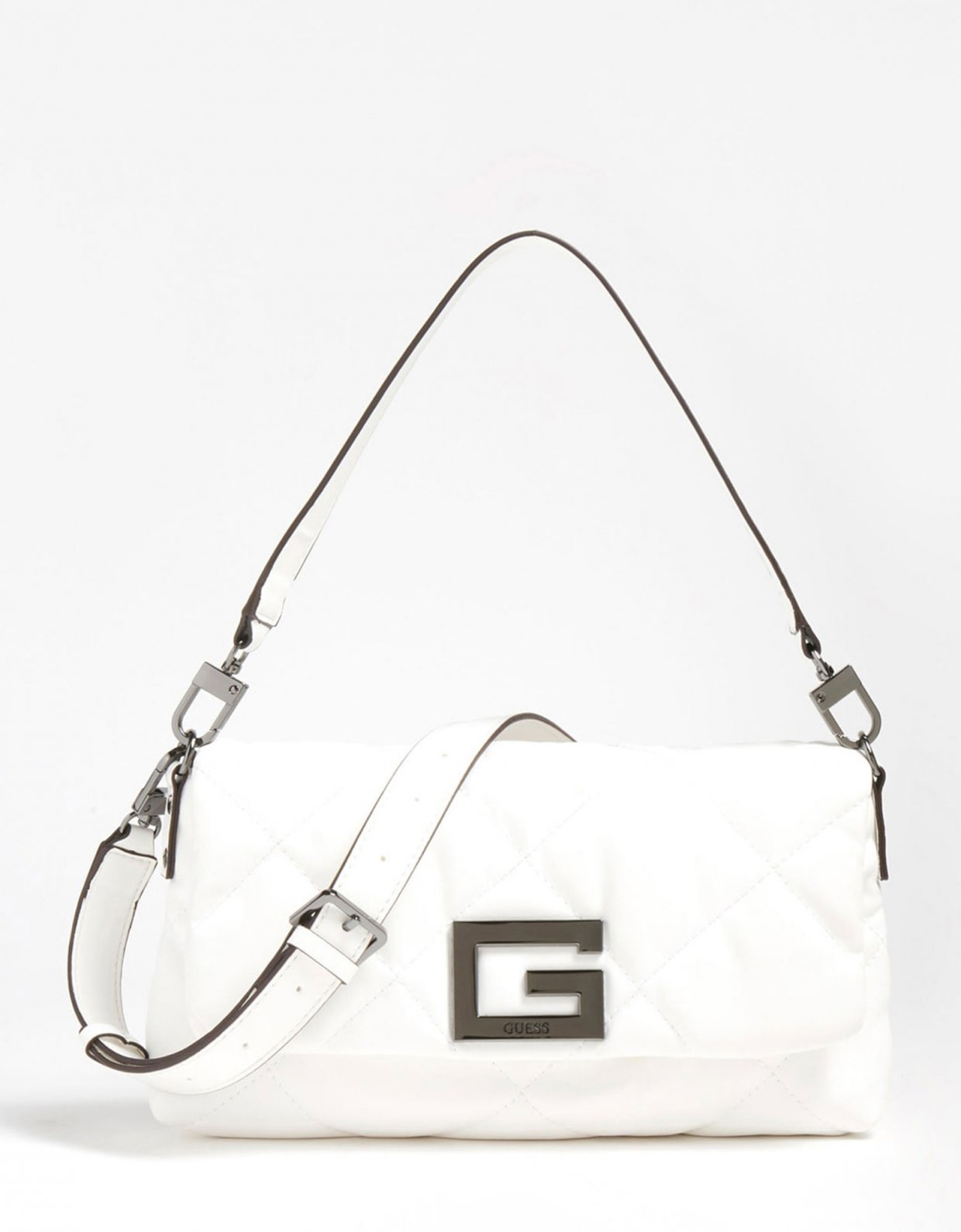 Guess Brightside quilted shoulder bag white