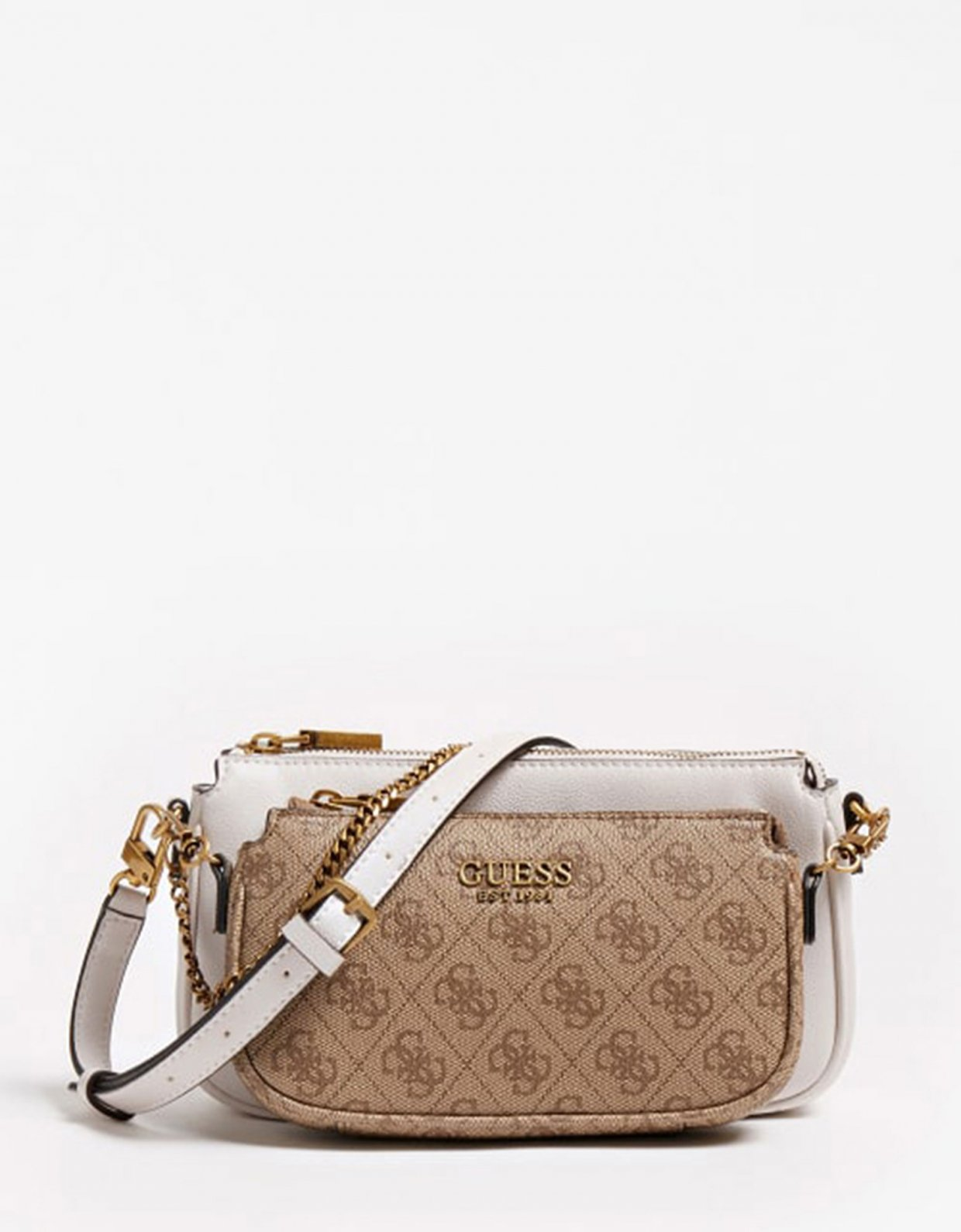 Guess Mika double pouch crossbody brown