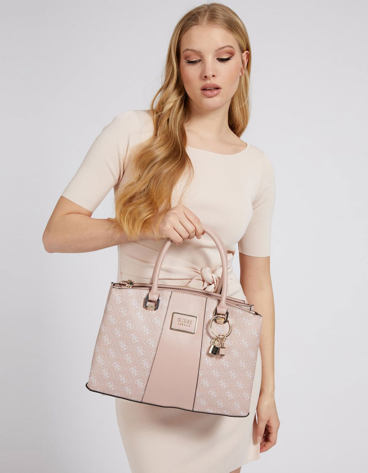 Guess Tyren status satchel handbag blush