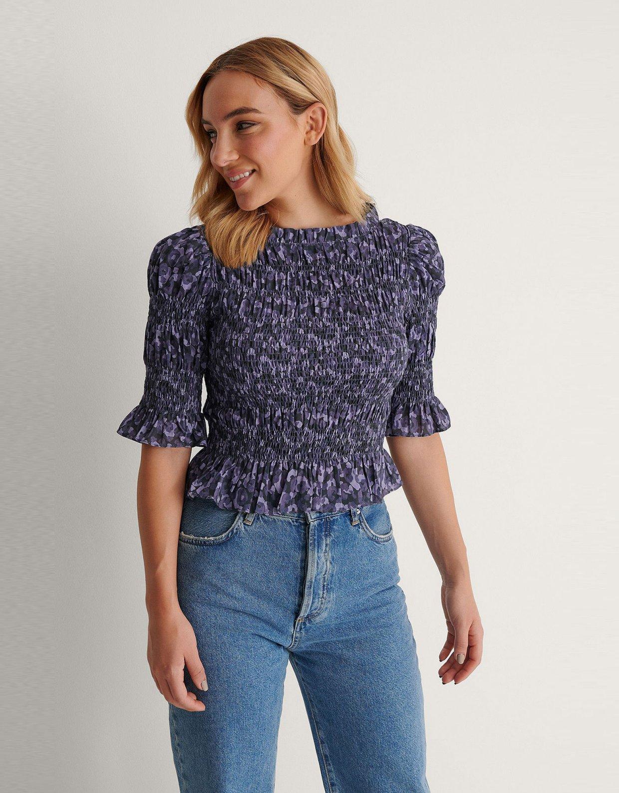 NA-KD High neck smocked blouse blue