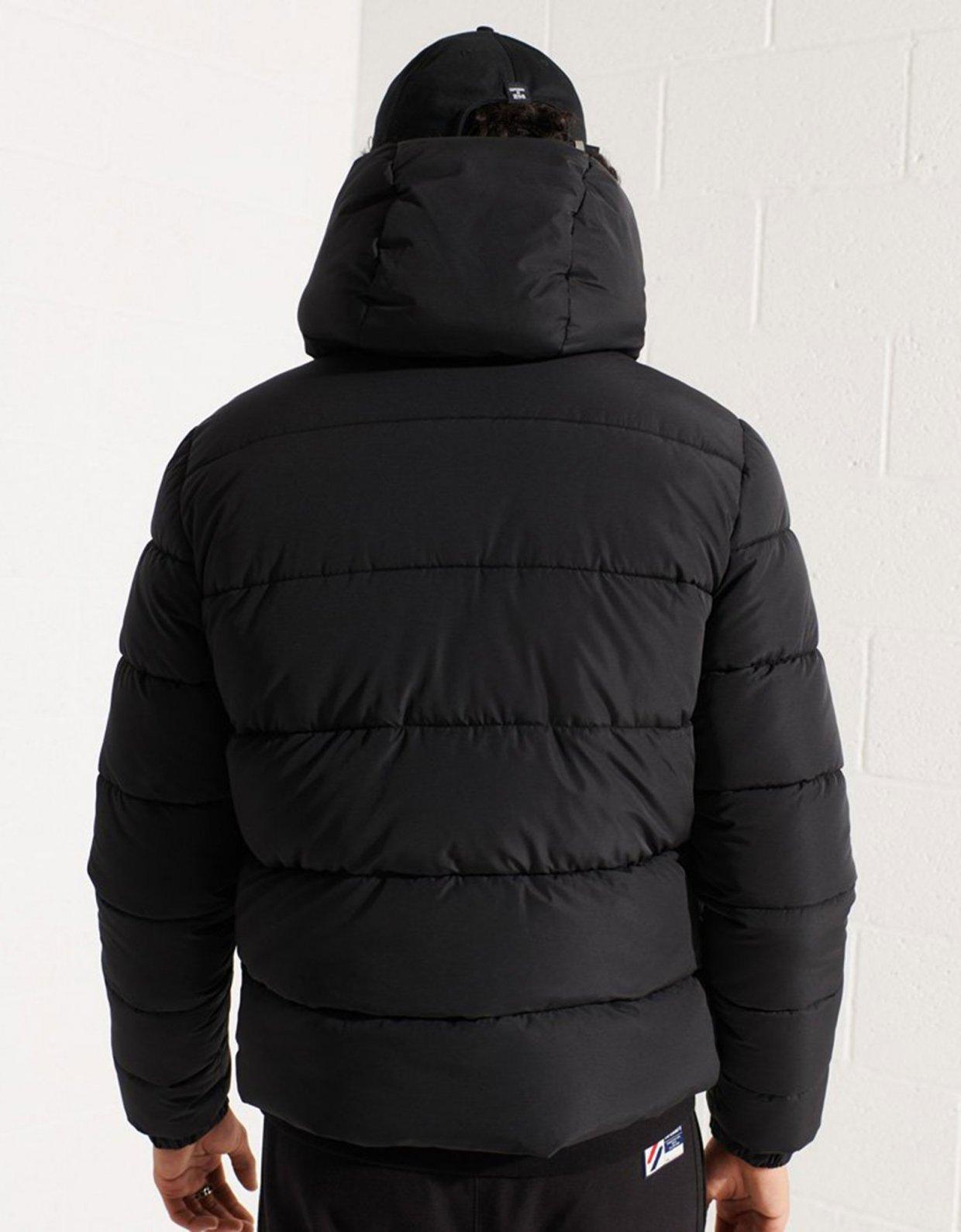 Superdry Hooded sports puffer jacket black