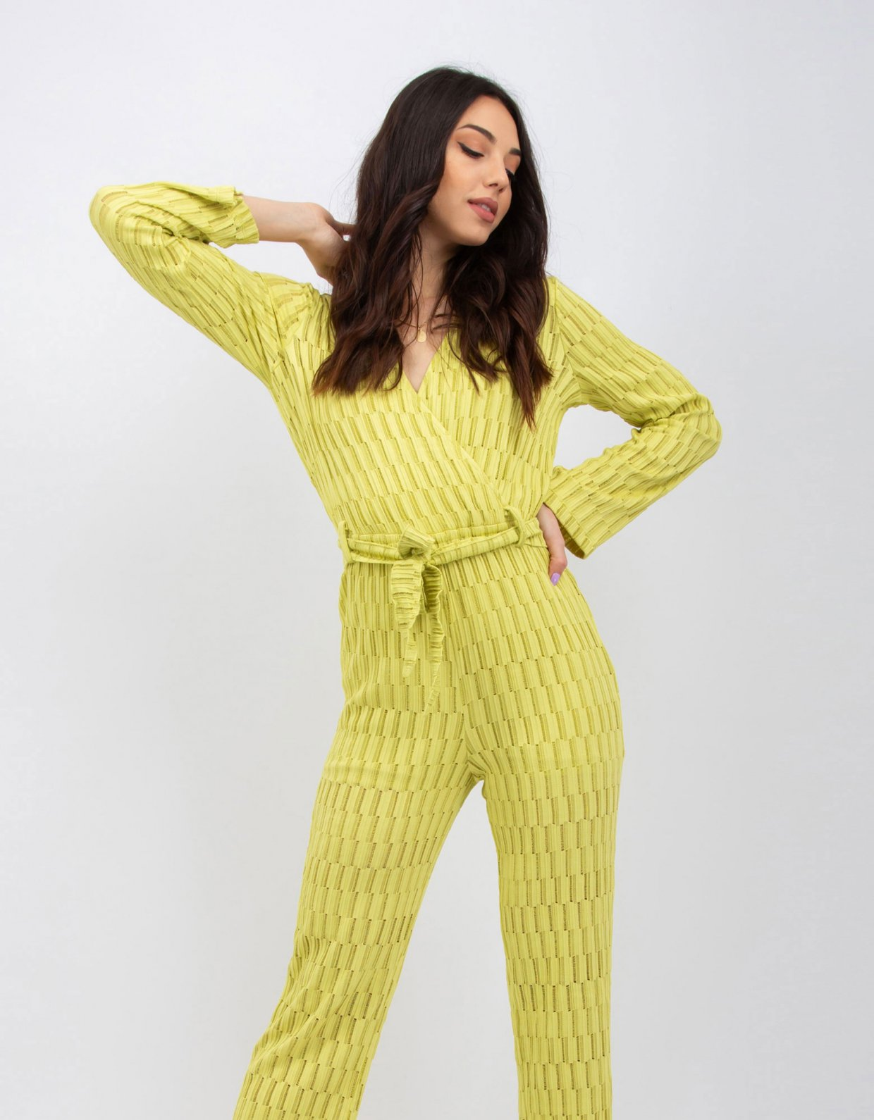 Kendall + Kylie Staggered knit stripe lime jumpsuit