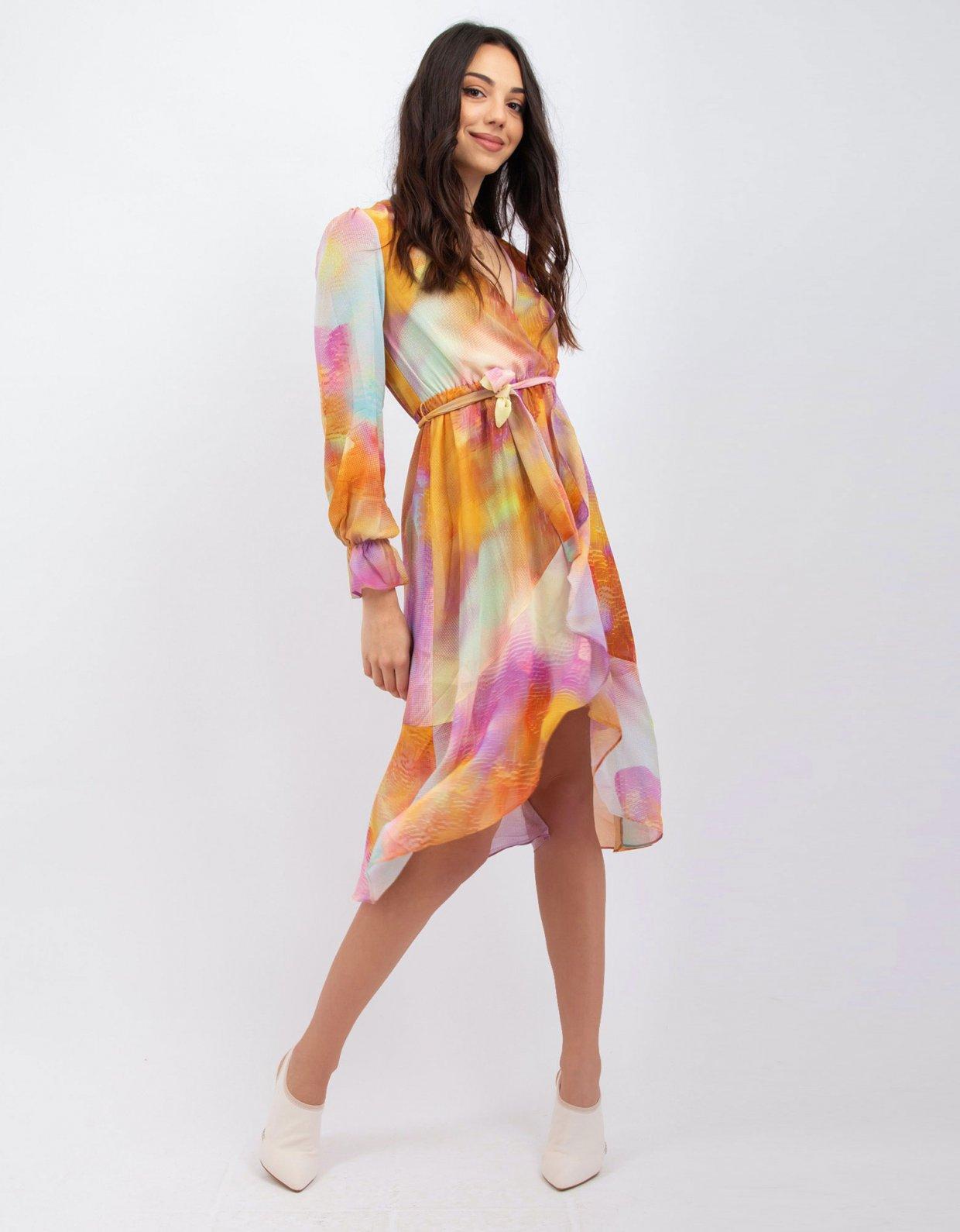 Kendall + Kylie Tie dye orange wrap dress