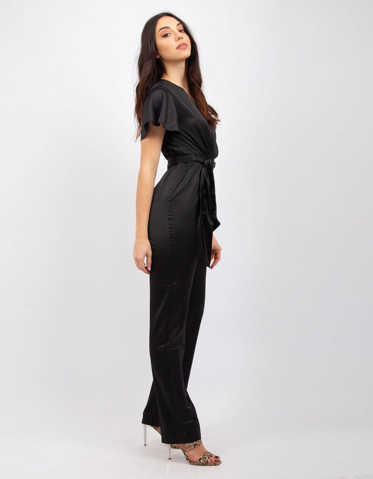 Kendall + Kylie Satin black jumpsuit