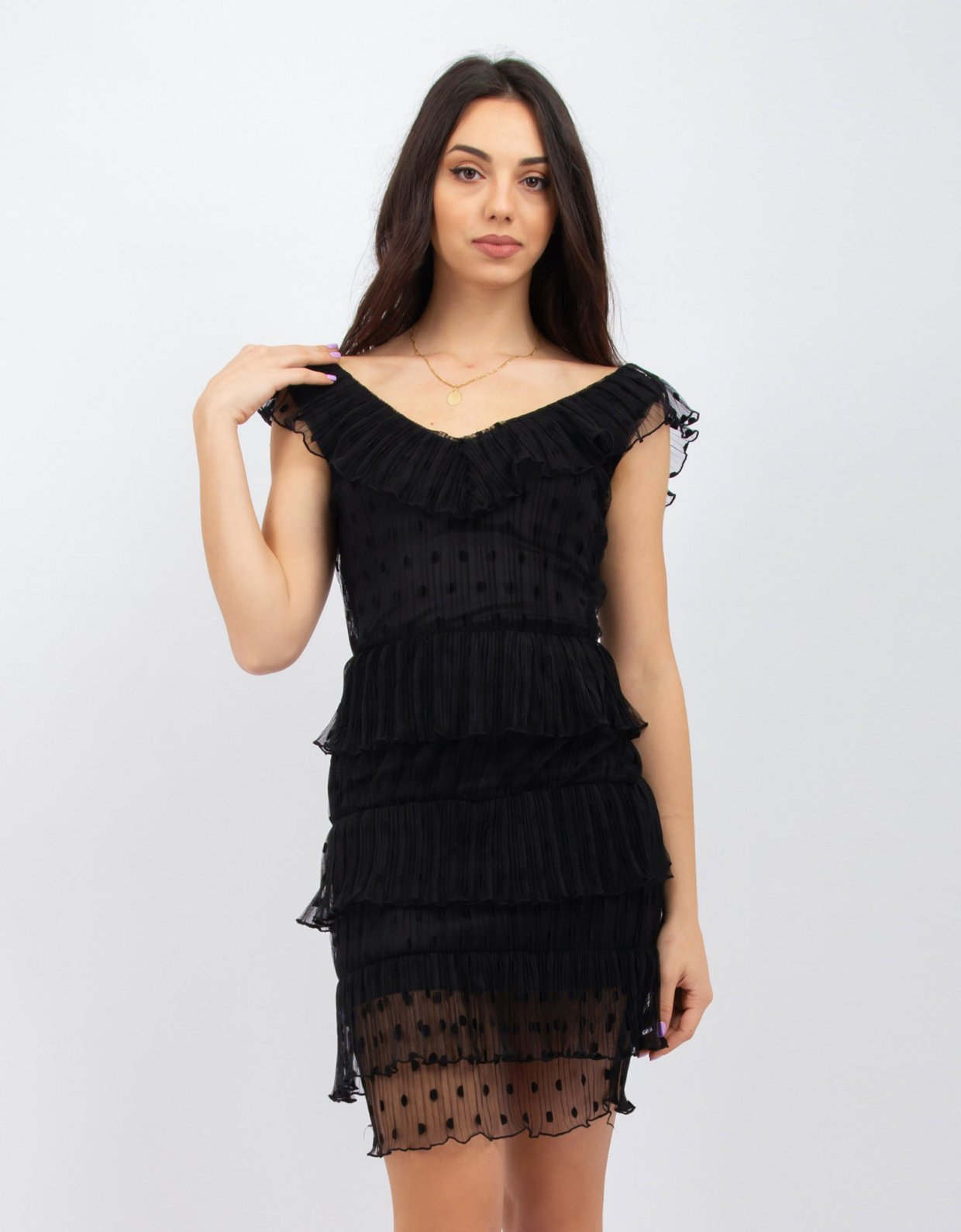Kendall + Kylie Polka dot pleated black dress