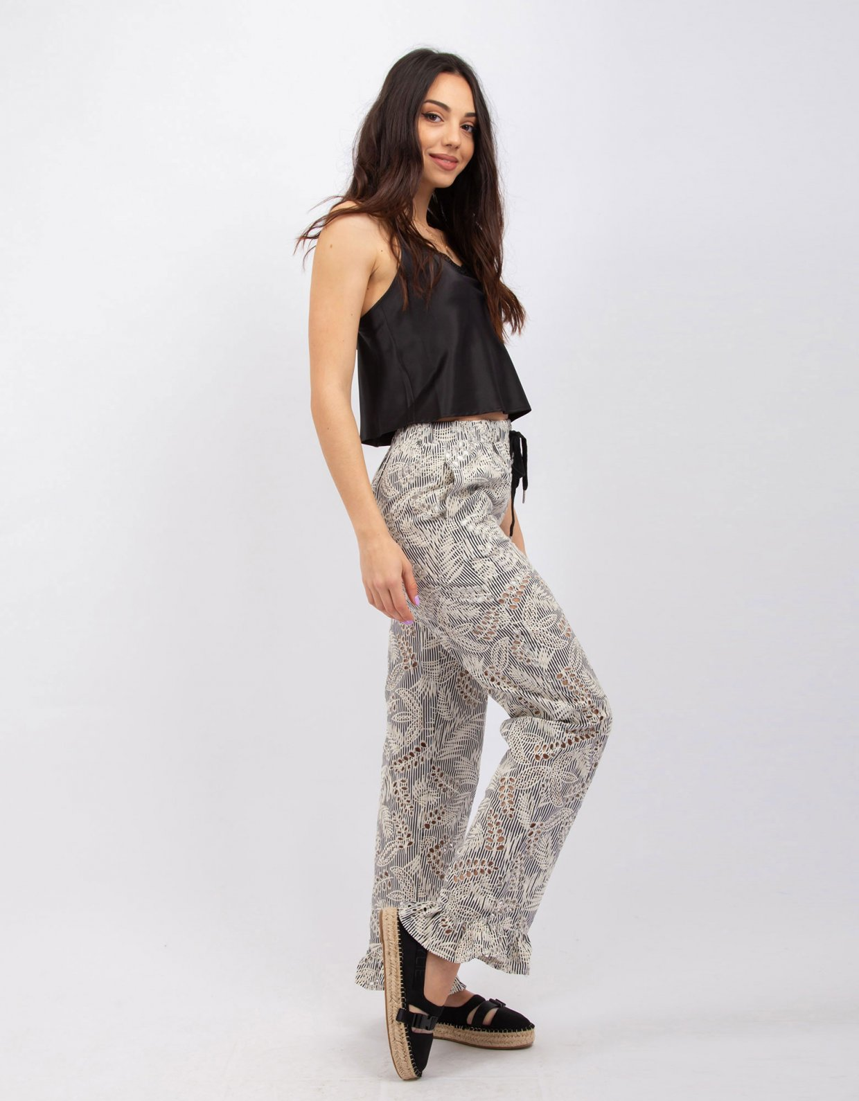 Kendall + Kylie Embroidered stiped B/W pants