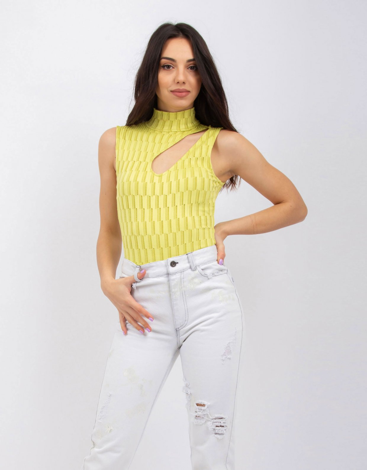 Kendall + Kylie Staggered knit stipe green lime bodysuit