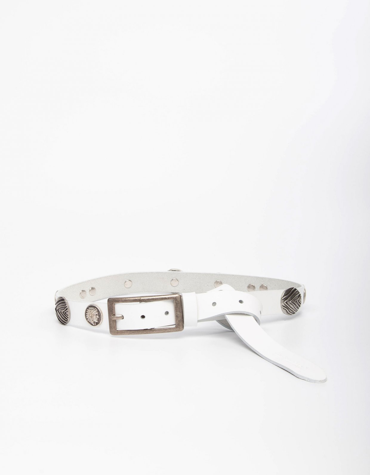 Individual Art Leather Indian summer white belt