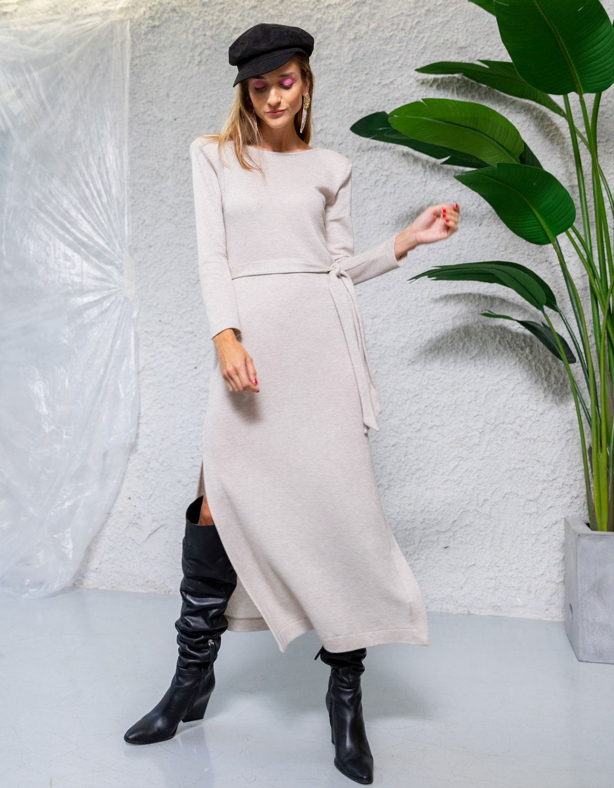 The Knl's Illusion ecru knitted dress
