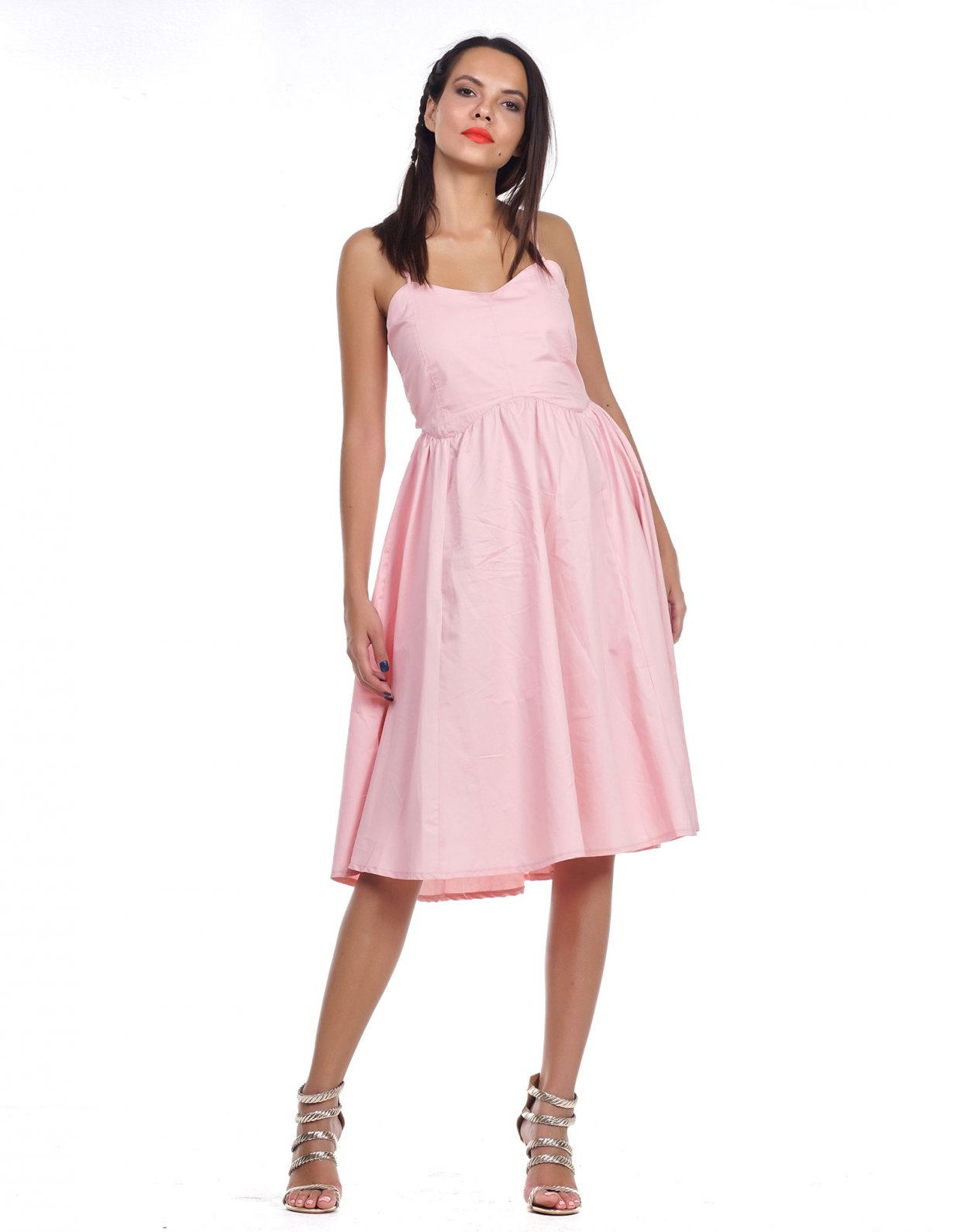 Kendall + Kylie Midi open back ribbon poplin dress