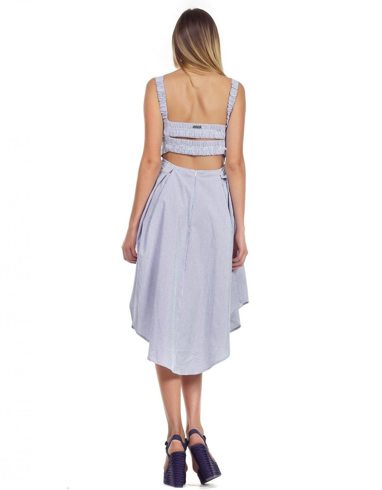 Kendall + Kylie Navy stripe asymmetric midi dress