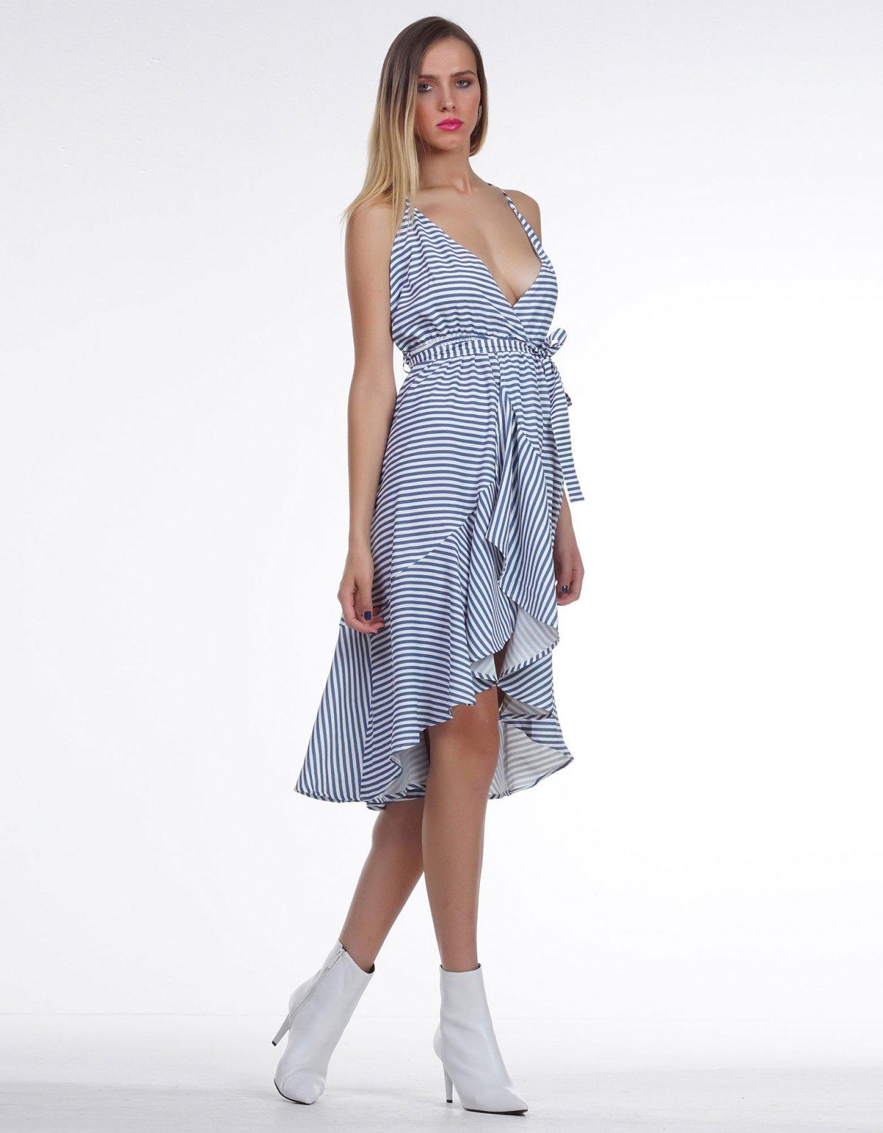 Kendall + Kylie Navy stripe V line dress