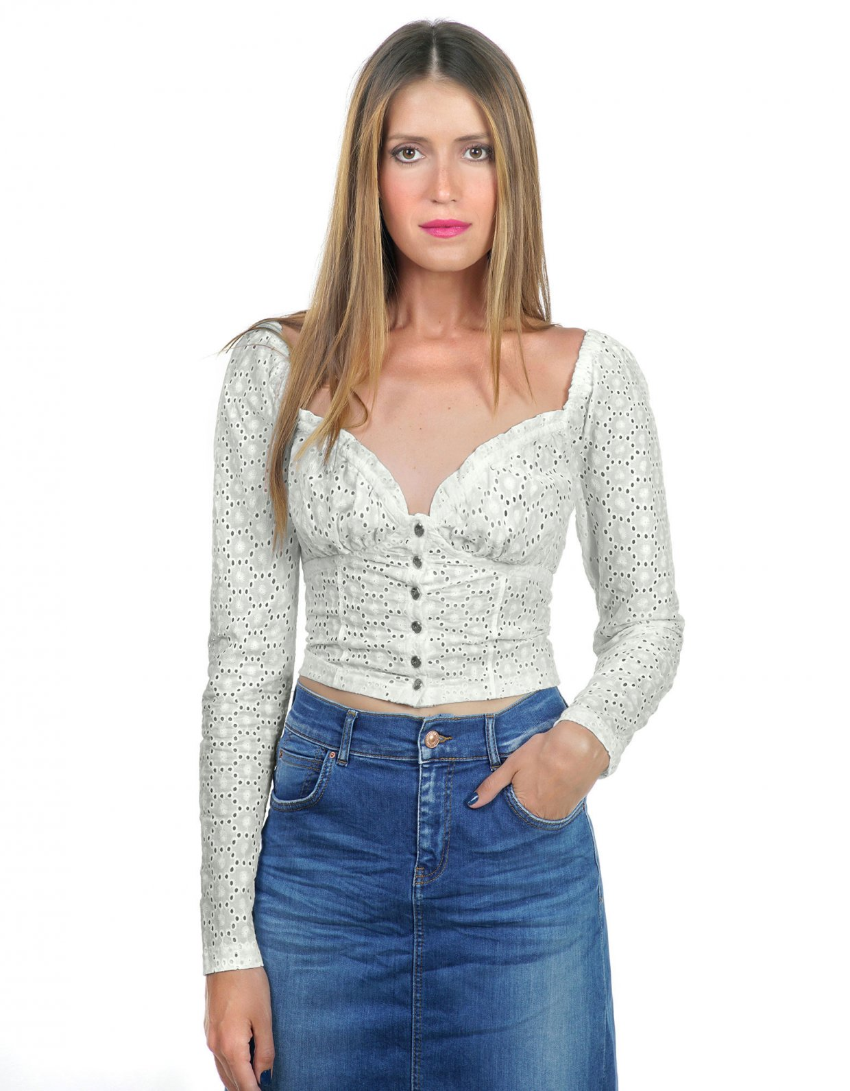 Kendall + Kylie Embroidered cabaret long-sleeve top