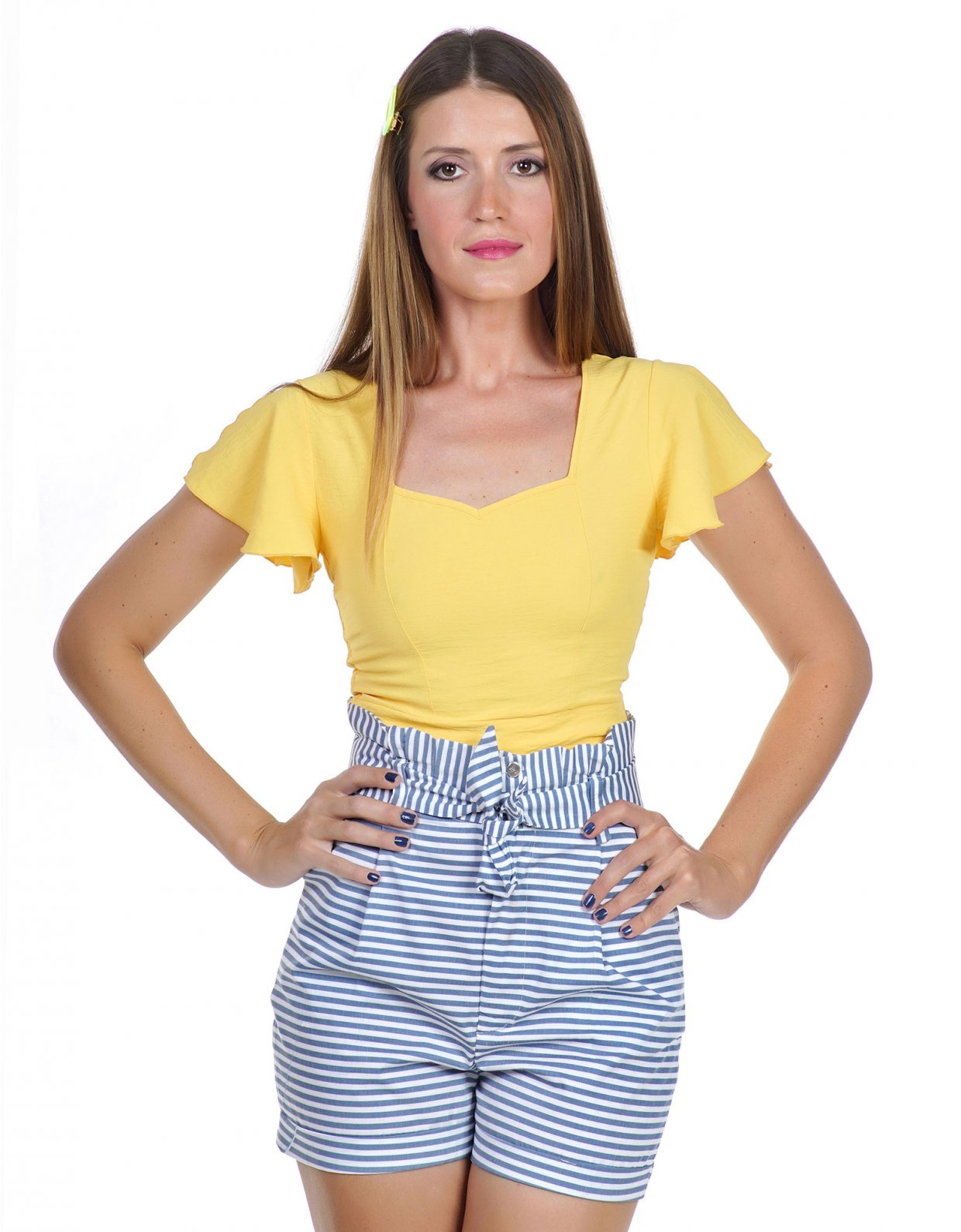 Kendall + Kylie Navy stripe shorts