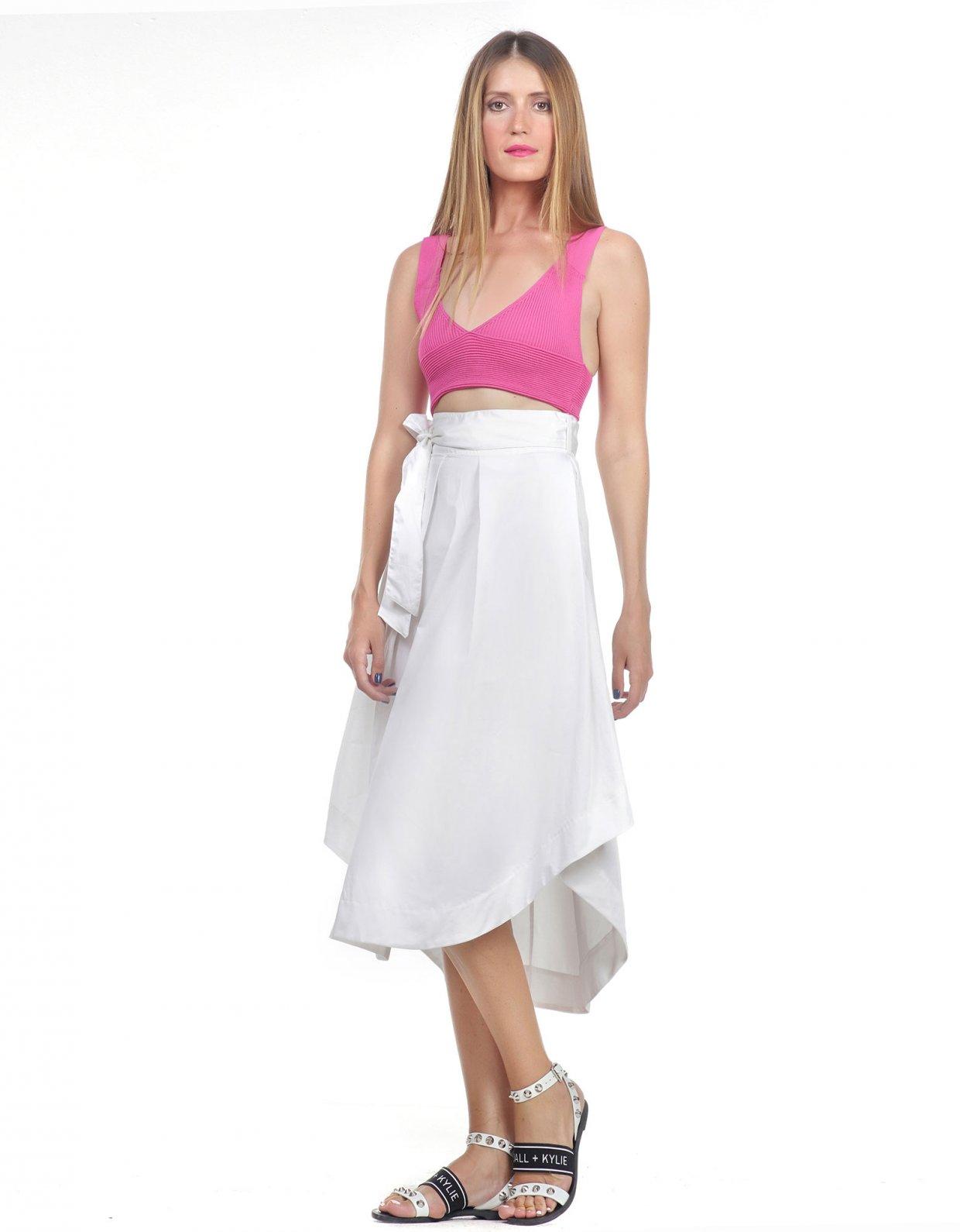Kendall + Kylie Midi asymmetric poplin skirt