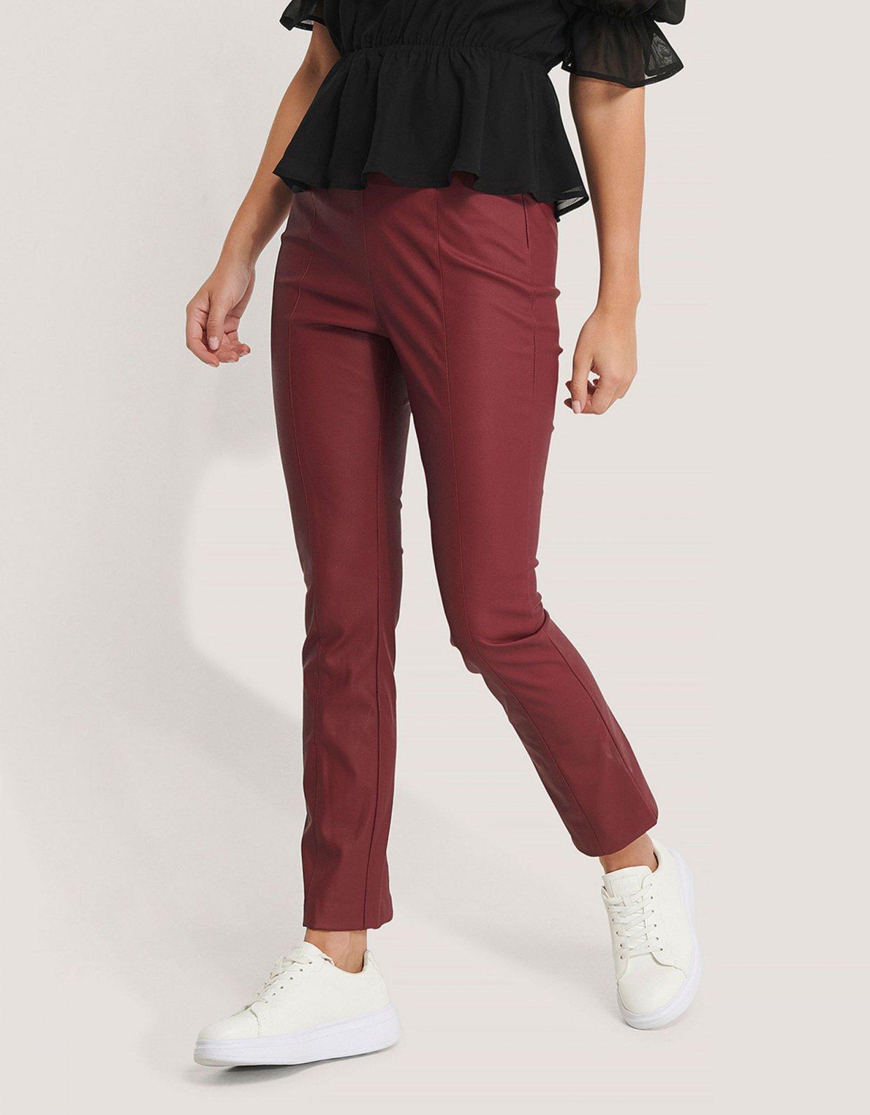 NA-KD Kick flare PU pants dark red