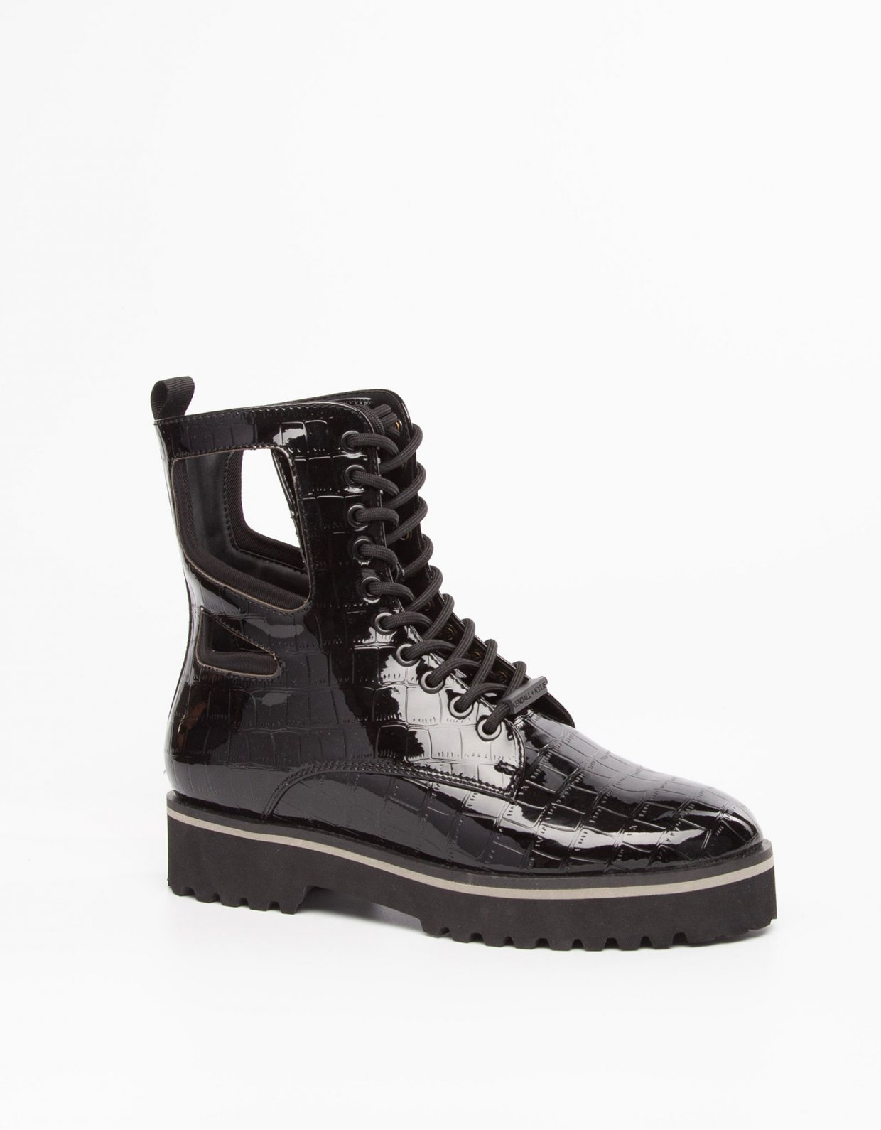 Kendall + Kylie Langmore black croco vinyl boots