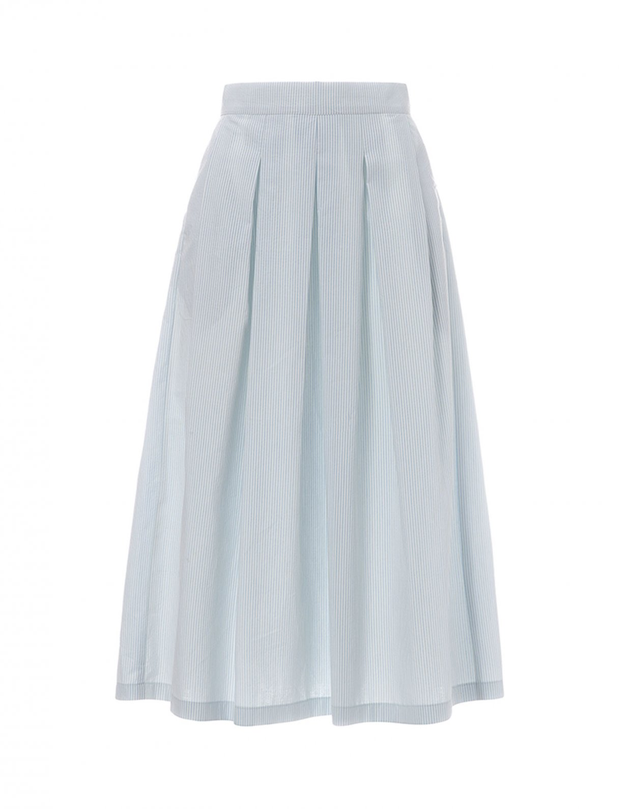 Milk White Light blue midi piquè skirt