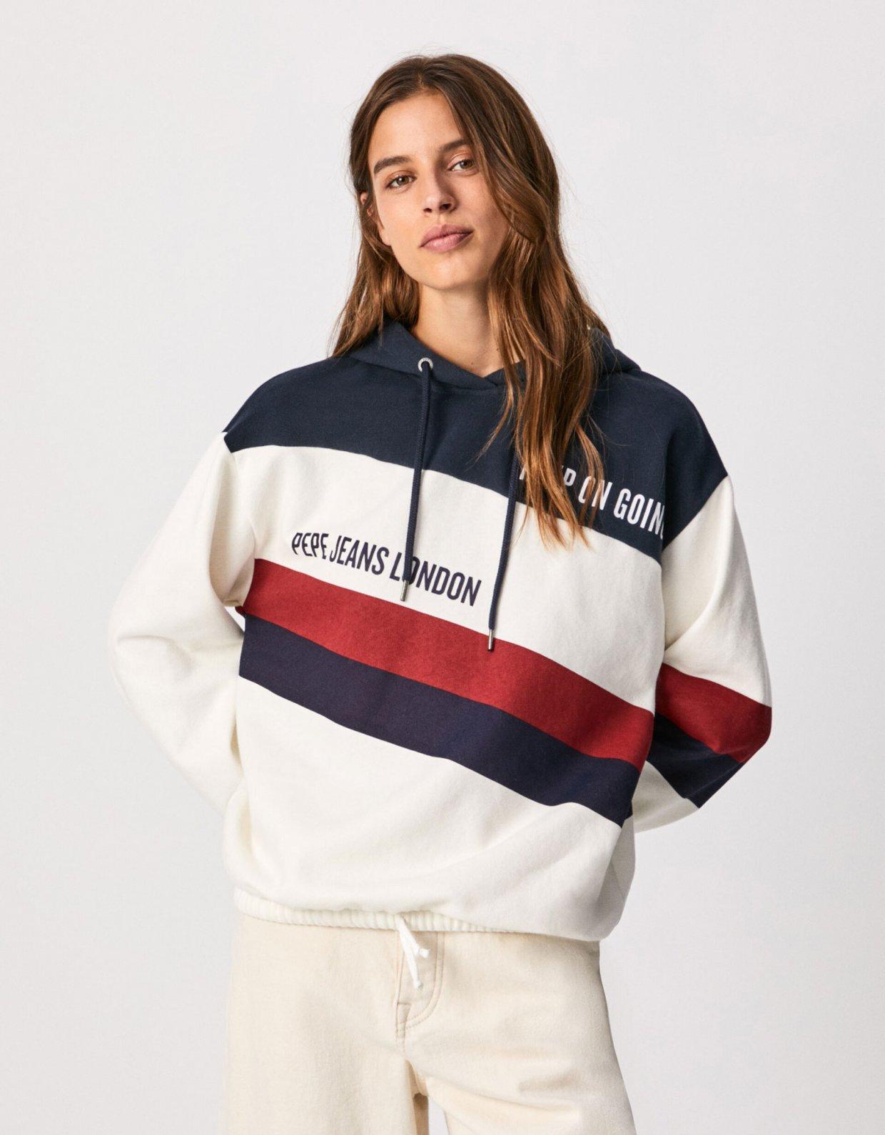 Pepe Jeans Lluna colour block sweatshirt off white