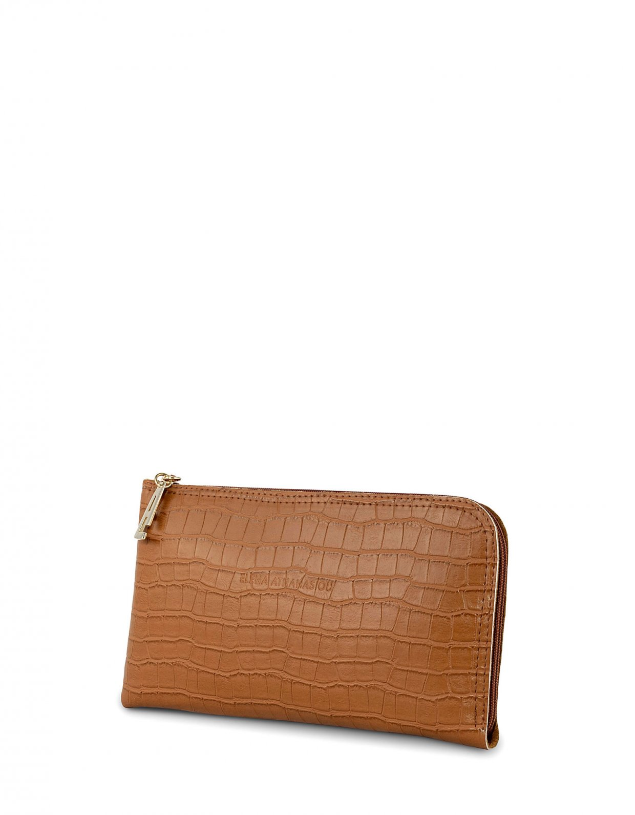 Elena Athanasiou Mini clutch bag cognac croco