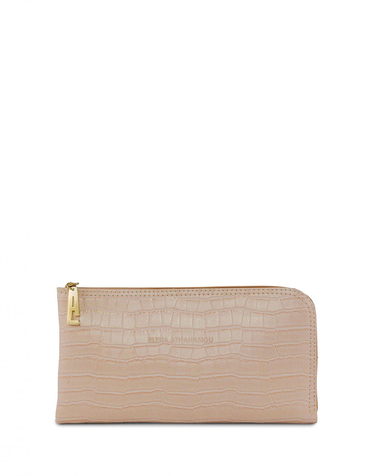 Elena Athanasiou Mini clutch bag powder pink croco