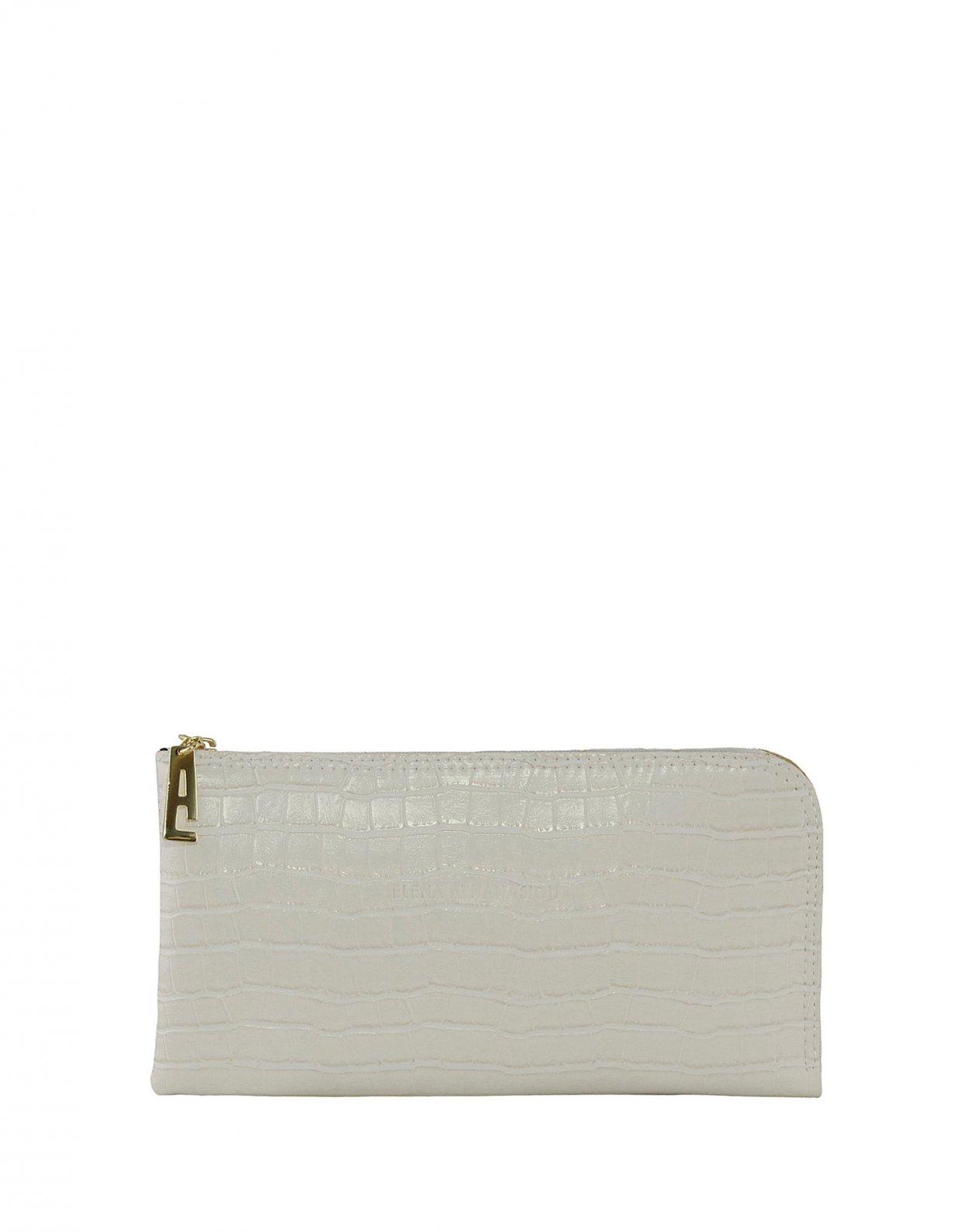 Elena Athanasiou Mini clutch bag white croco