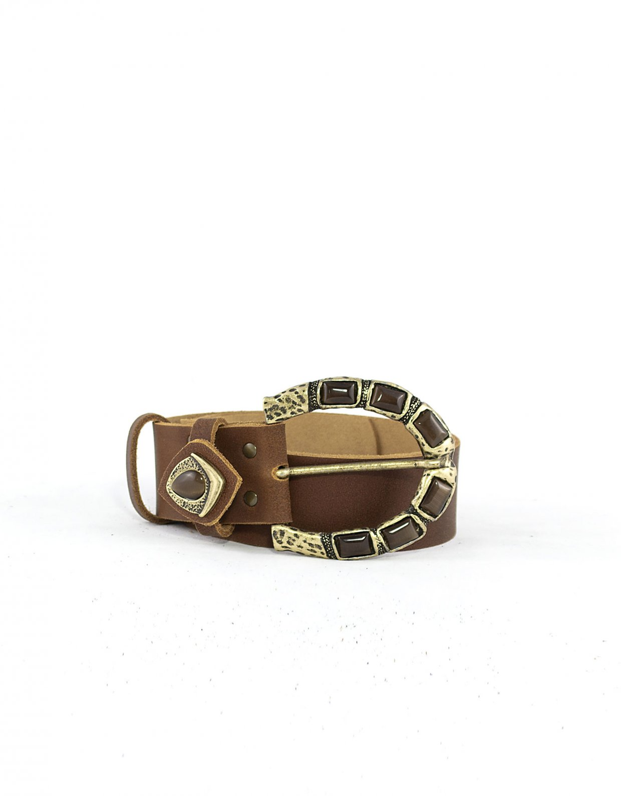 Peace & Chaos Moonstone belt tanned