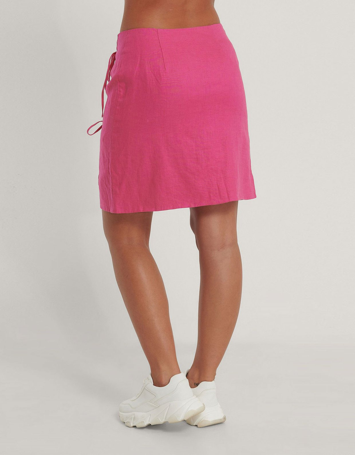 NA-KD Overlap linen skirt