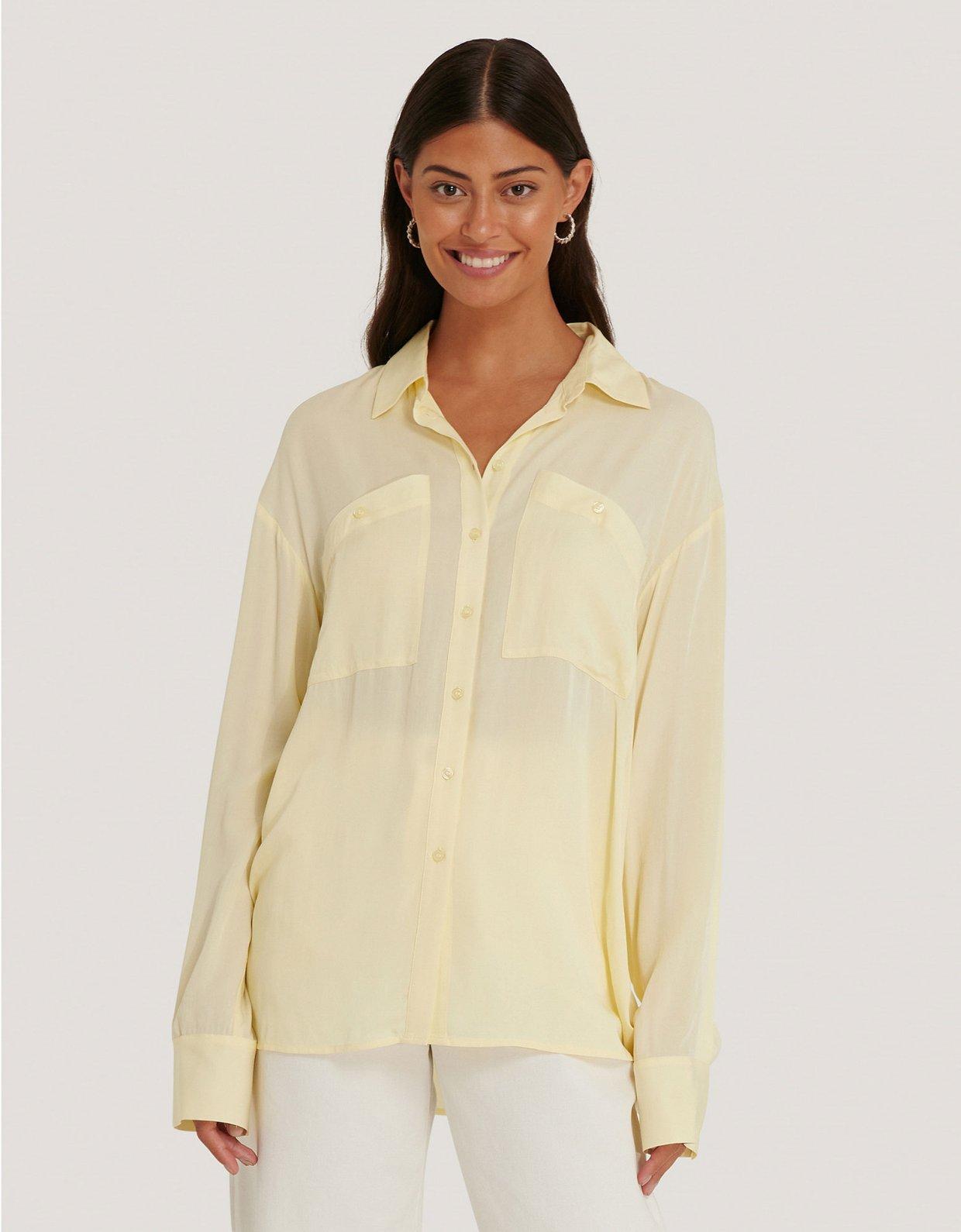 NA-KD Oversized shirt light yellow