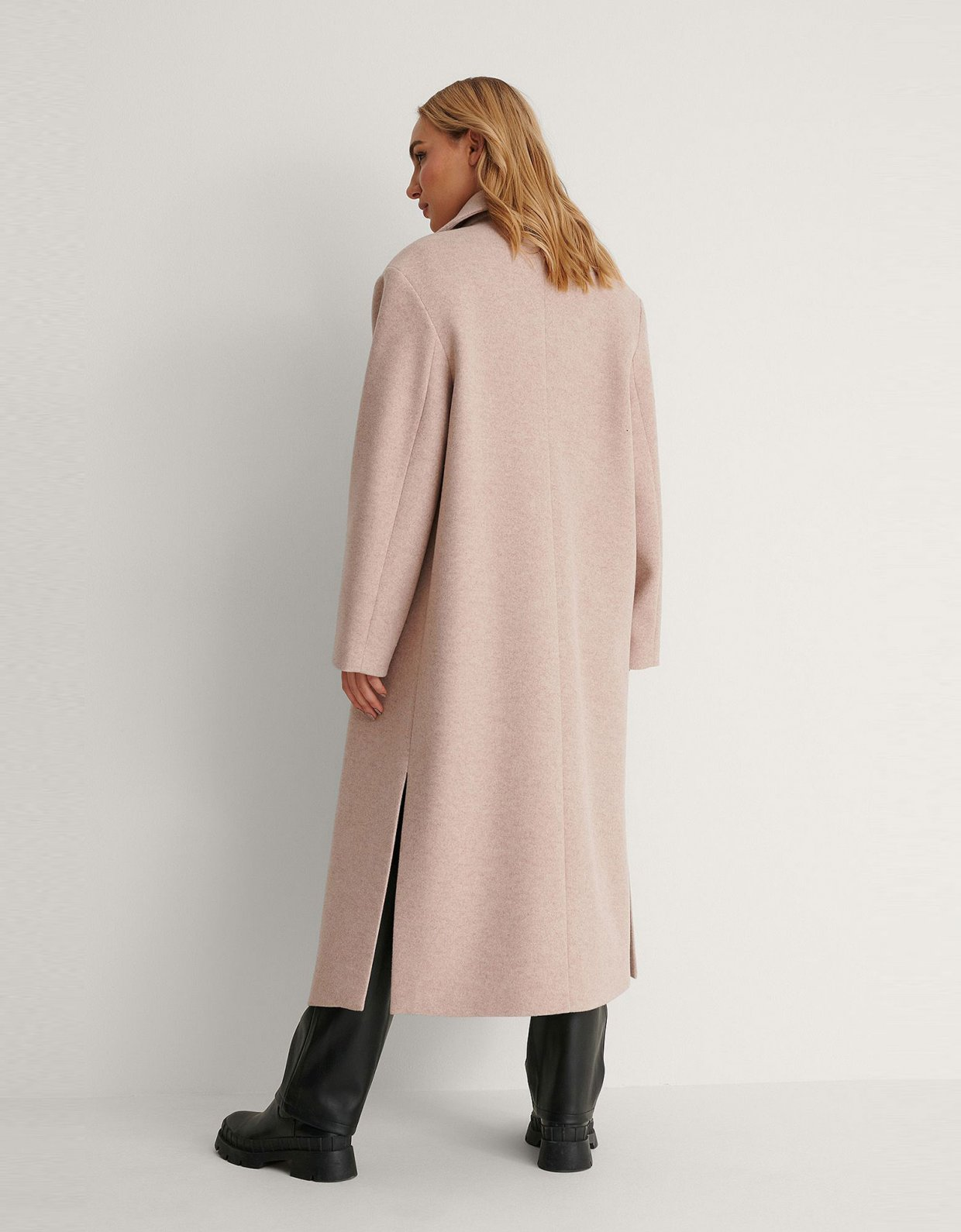 NA-KD Oversized side slit beige coat