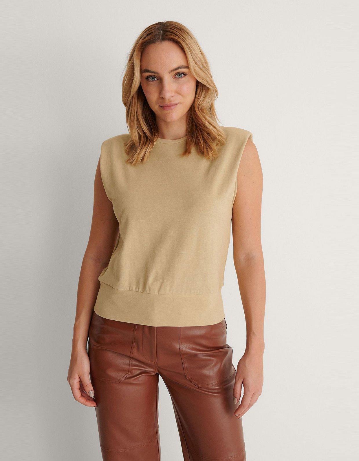 NA-KD Padded shoulder top khaki