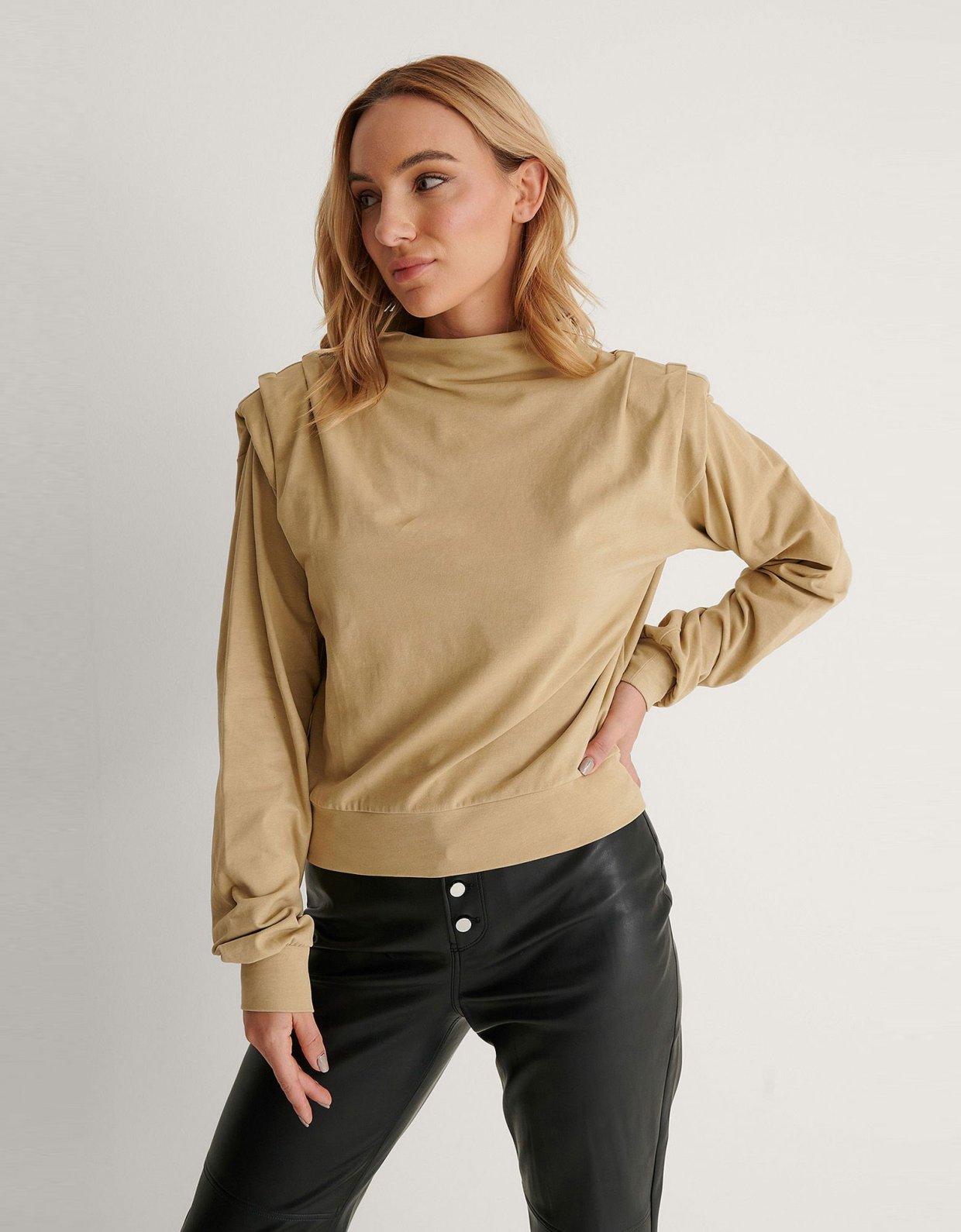 NA-KD Pleated detail sweater khaki