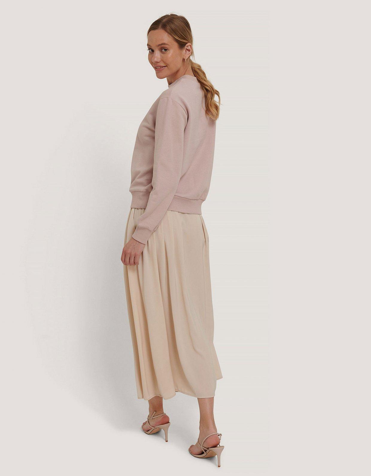 NA-KD Pleated midi skirt beige