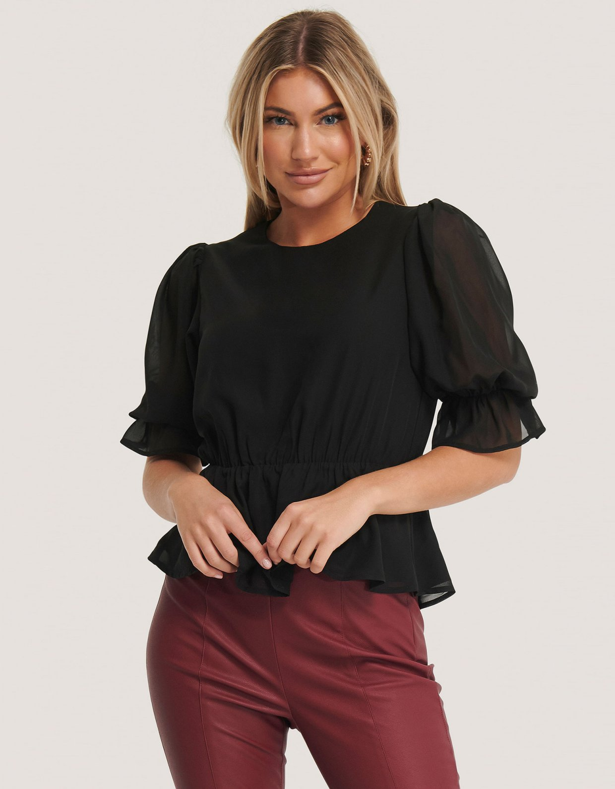 NA-KD Black puff sleeve chiffon blouse