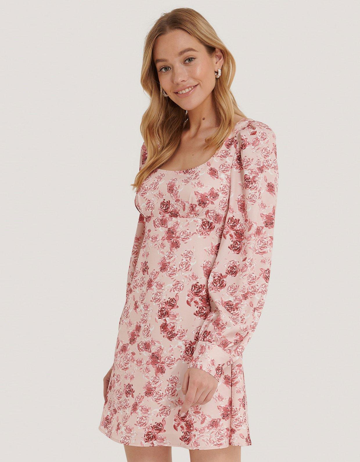 NA-KD Puff sleeve satin dress rose print