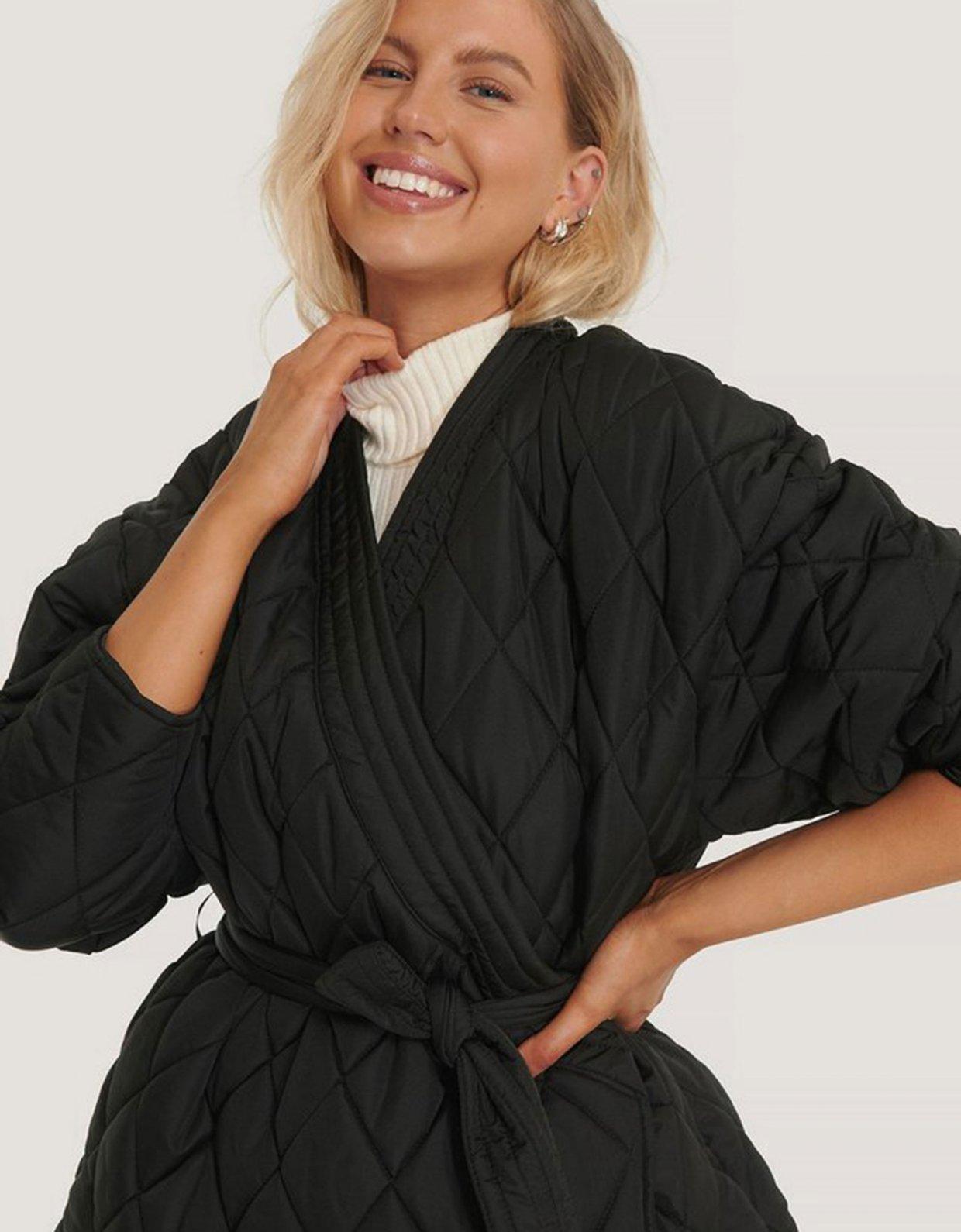 NA-KD Quilted kimono jacket