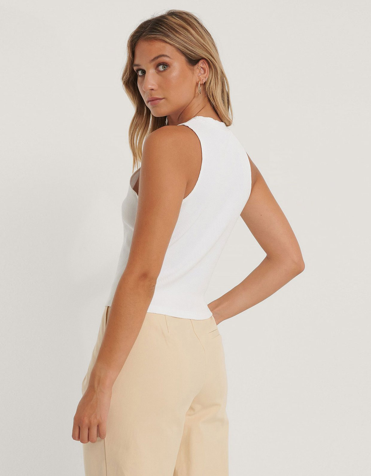 NA-KD Ribbed jersey top white