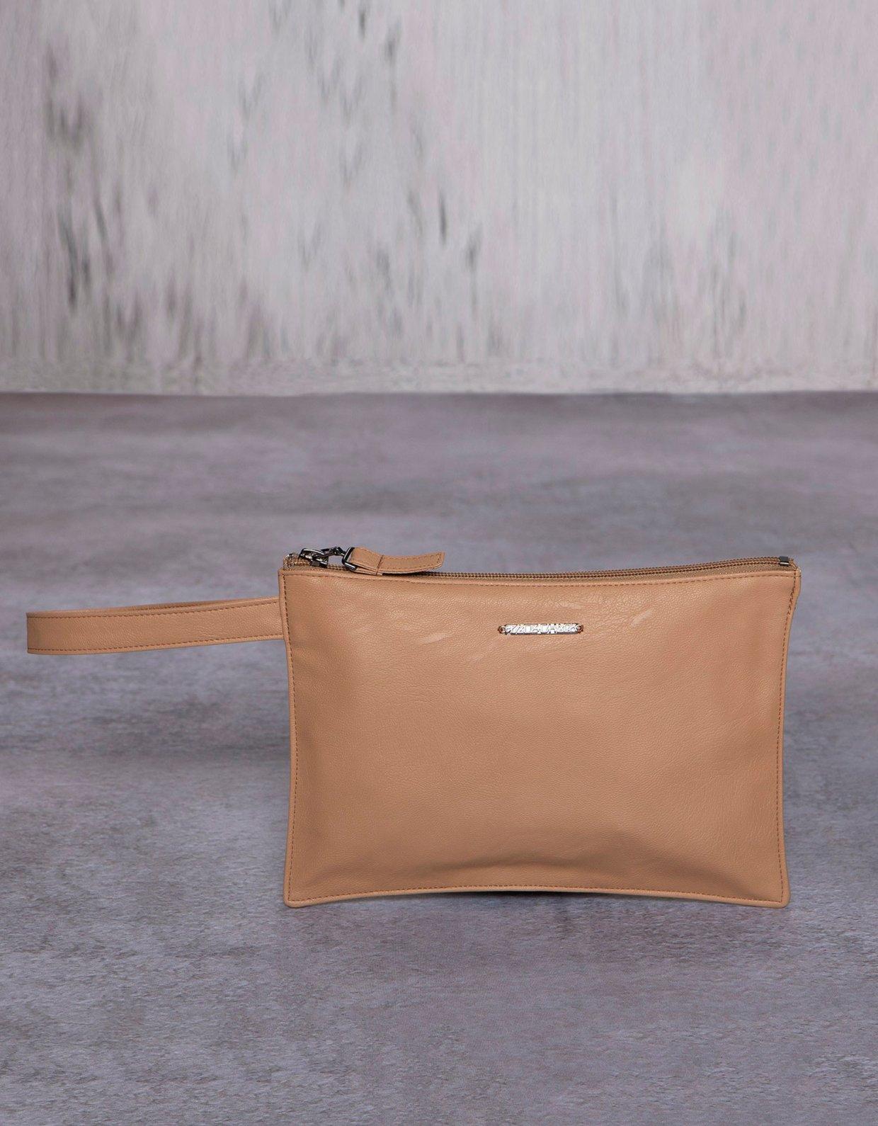 Peace & Chaos Cute eco leather clutch bag beige