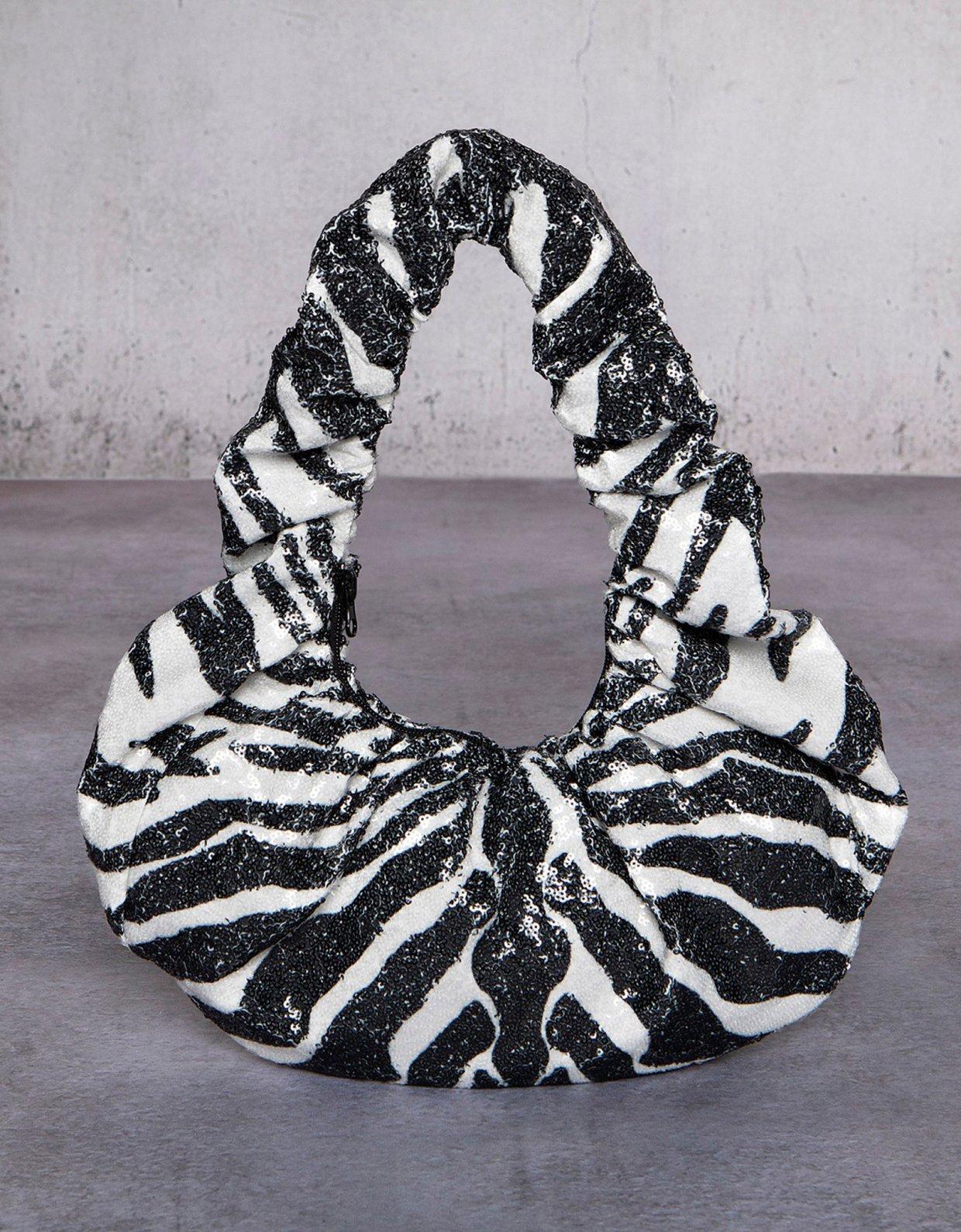 Peace & Chaos Zebra sequin croissant bag beige
