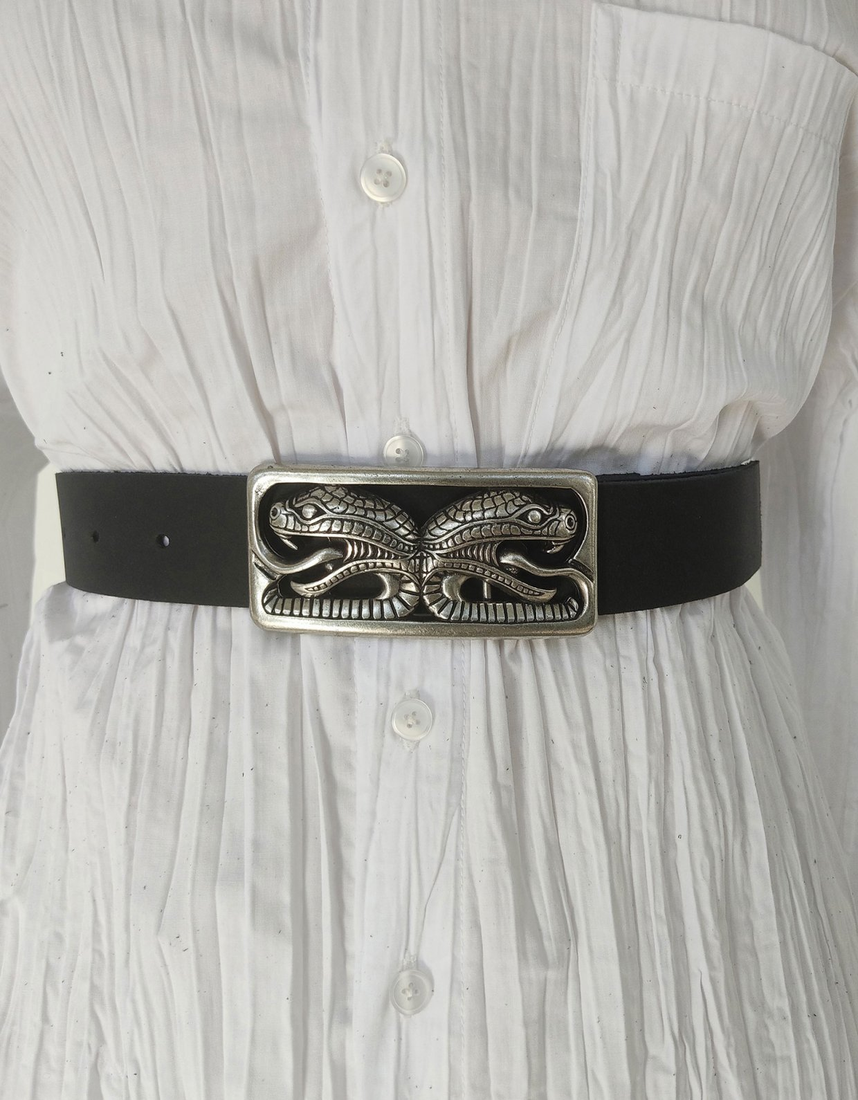 Peace & Chaos The serpent leather belt black