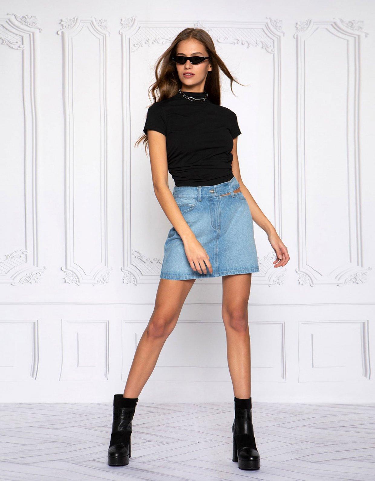 Peace & Chaos Cut out denim skirt